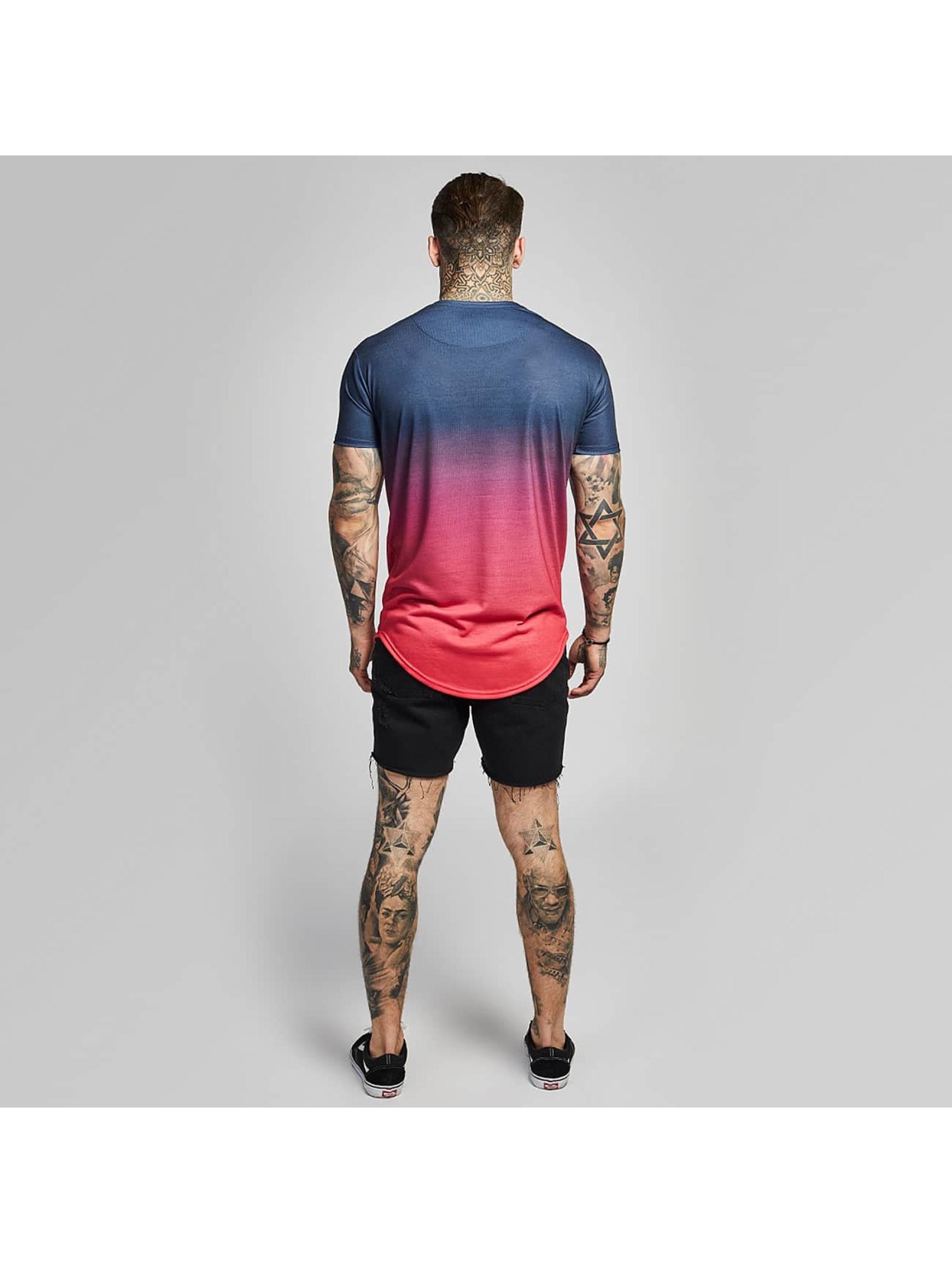 Sik Silk T-paidat Curved Hem Faded punainen