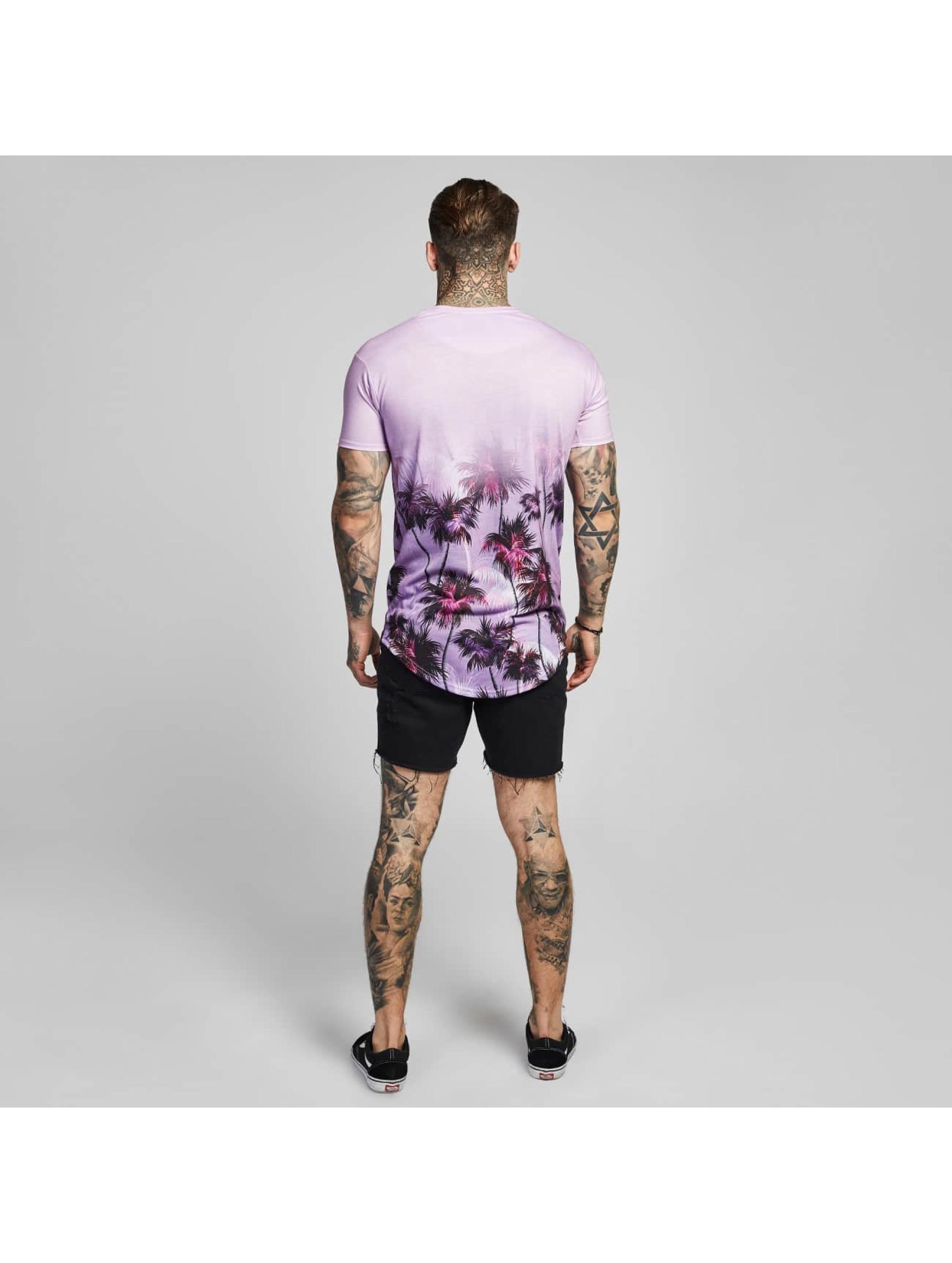 Sik Silk T-paidat Palm Rework Curved Hem purpuranpunainen