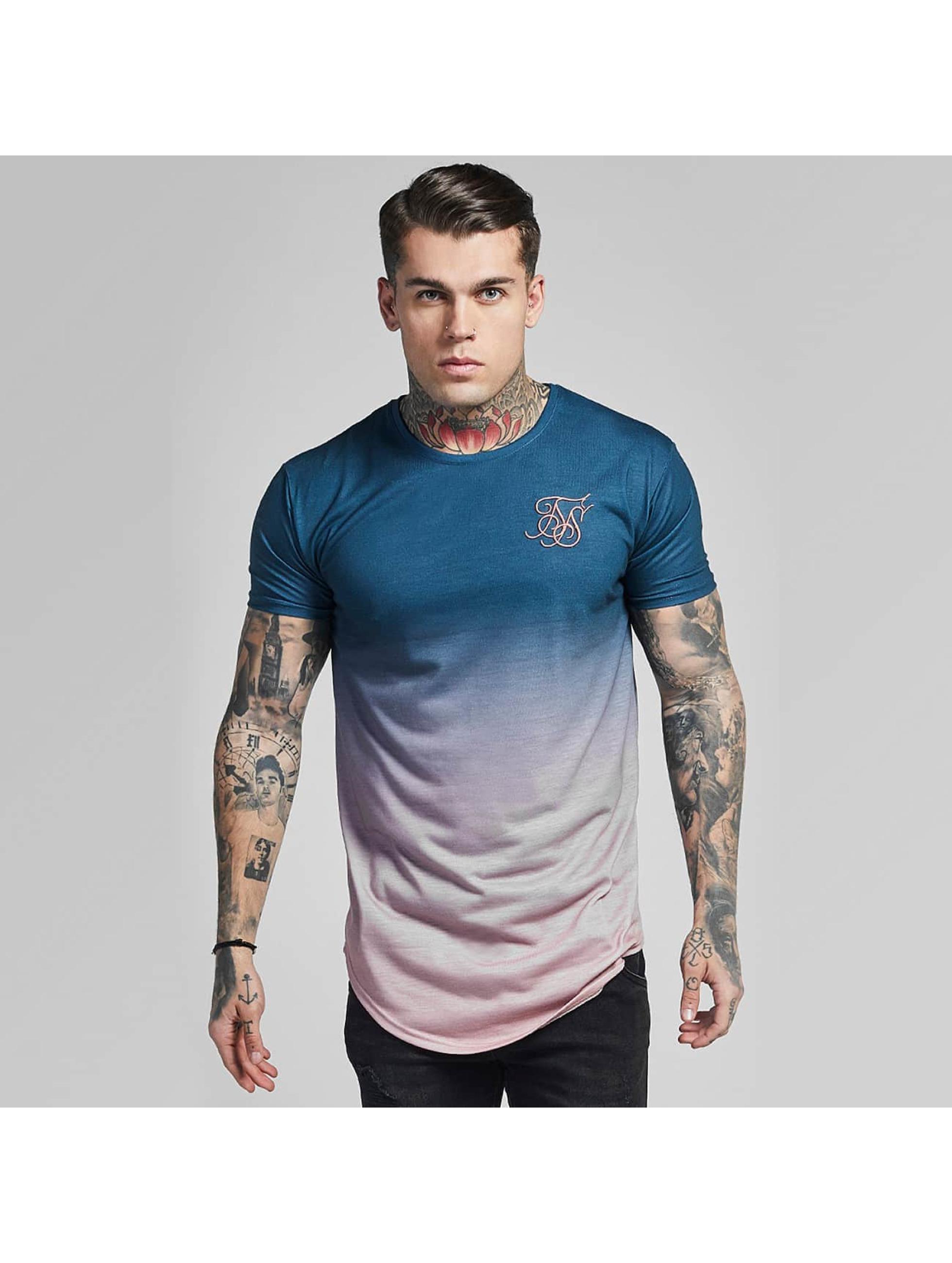 Sik Silk T-paidat Curved Hem Faded sininen