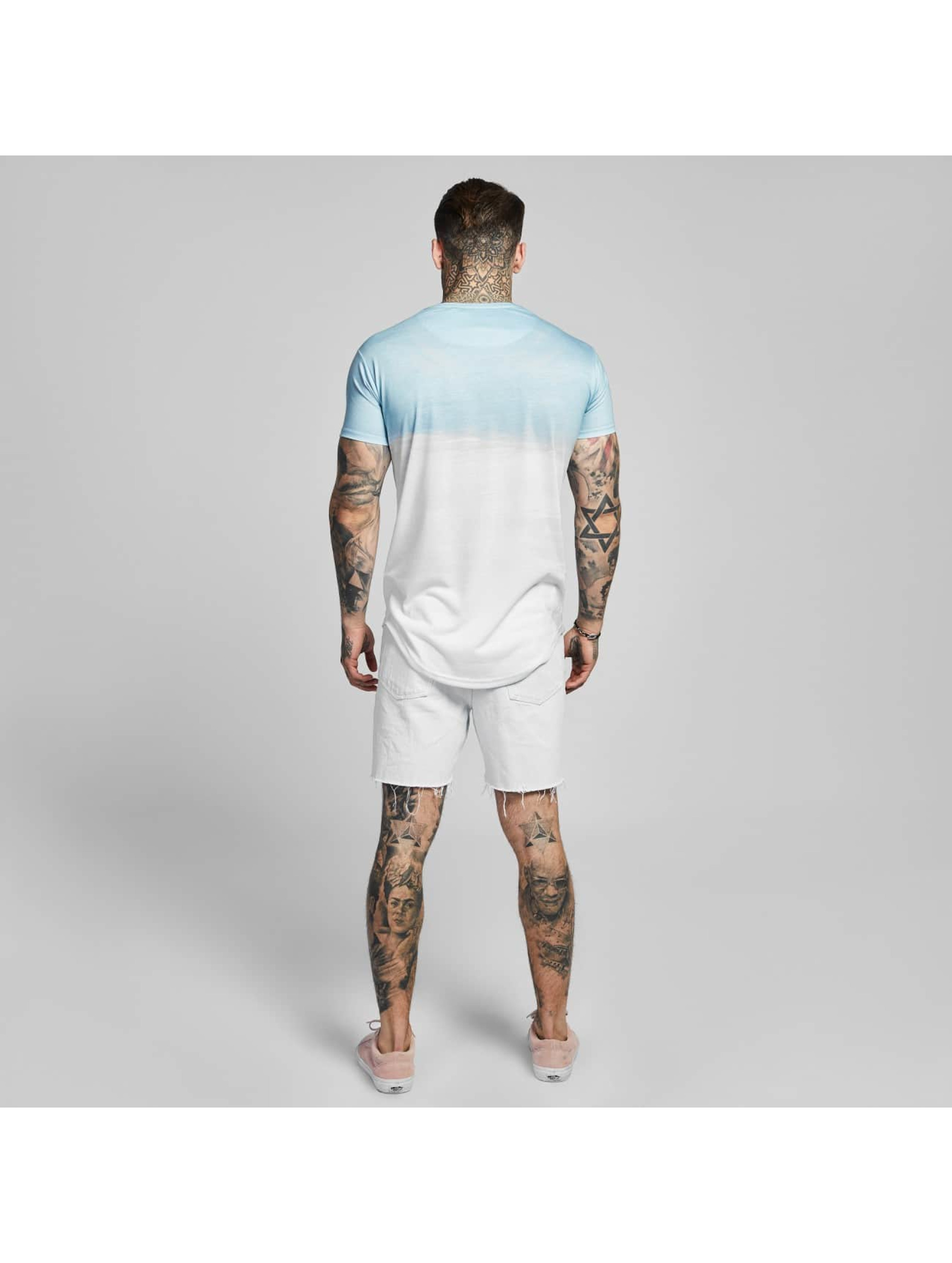 Sik Silk T-paidat Curved Hem Wash Out turkoosi