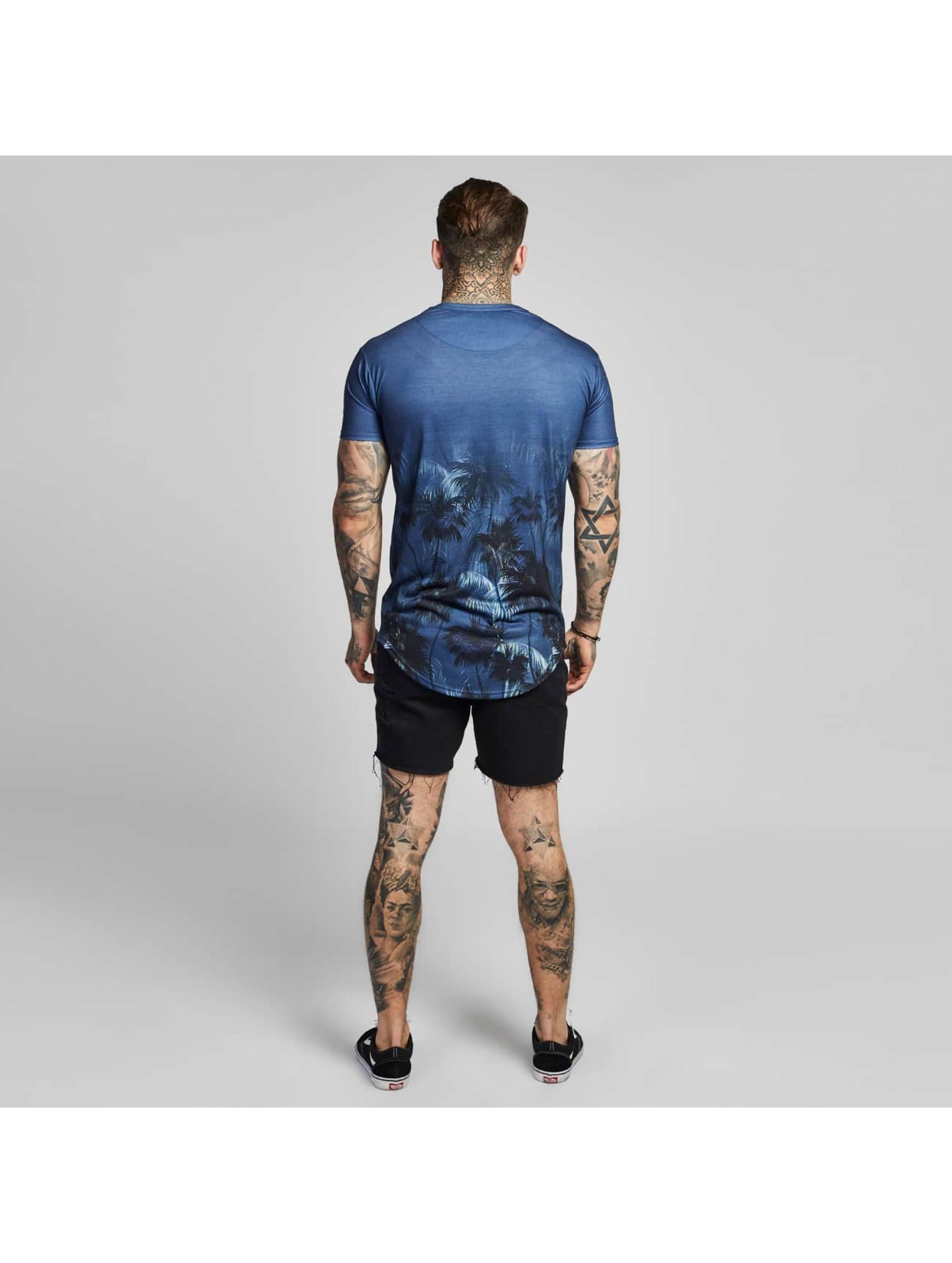 Sik Silk T-Shirt Palm Rework Curved Hem blue