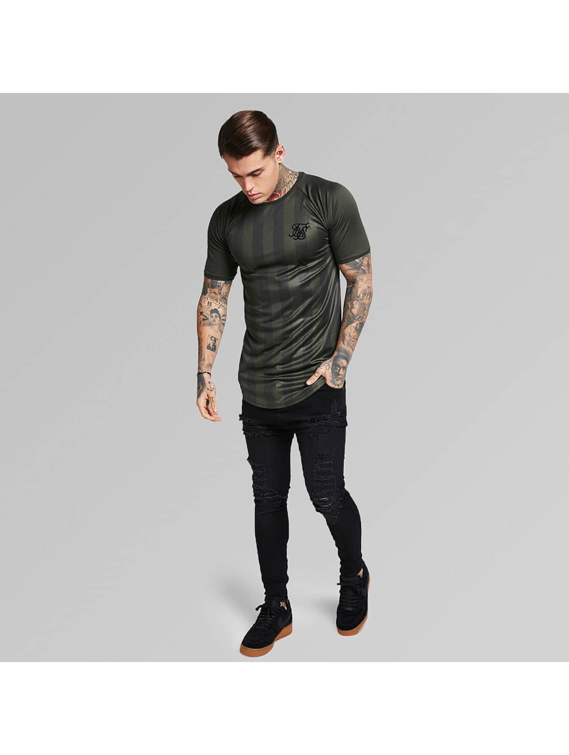 Sik Silk T-Shirt Shadow Stripe khaki