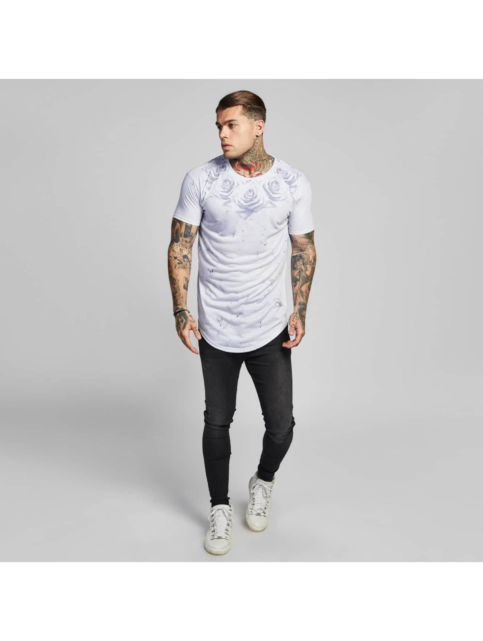 Sik Silk T-Shirt Marble Rose Curved Hem white