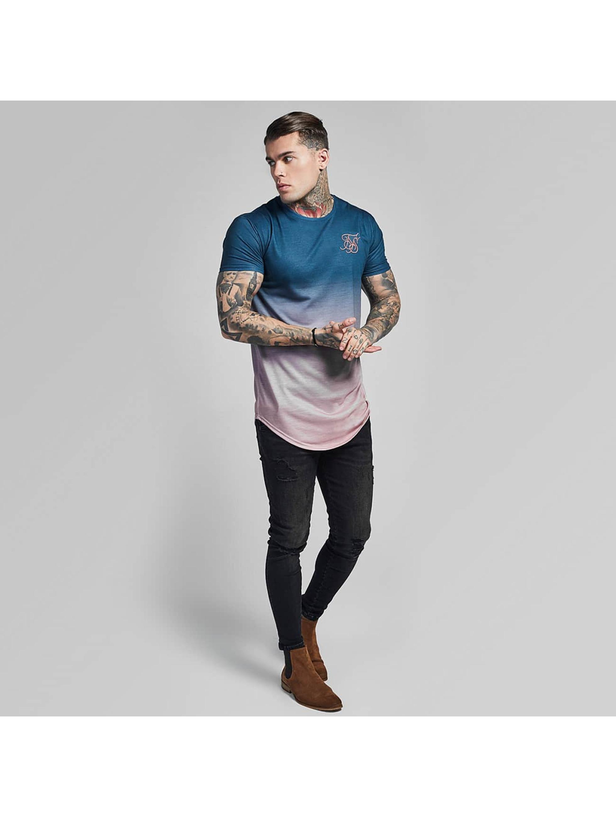 Sik Silk T-shirts Curved Hem Faded blå