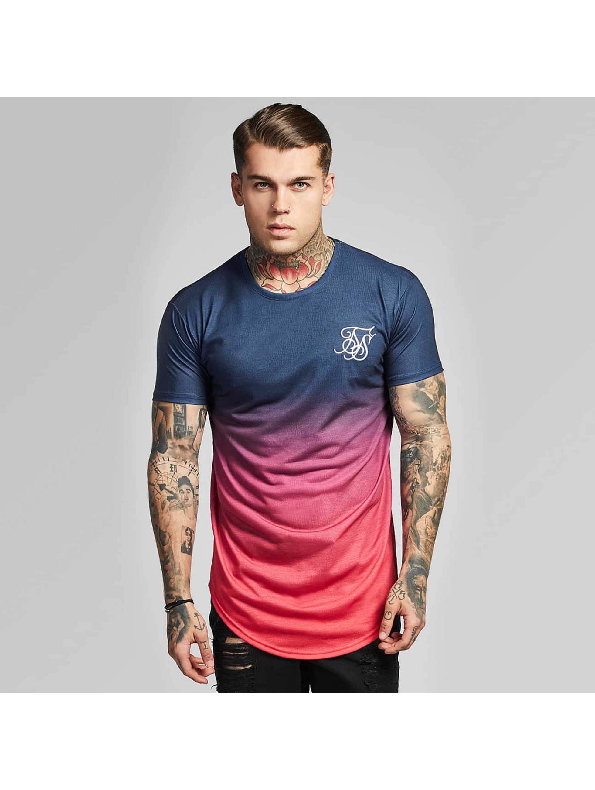 Sik Silk T-shirts Curved Hem Faded rød