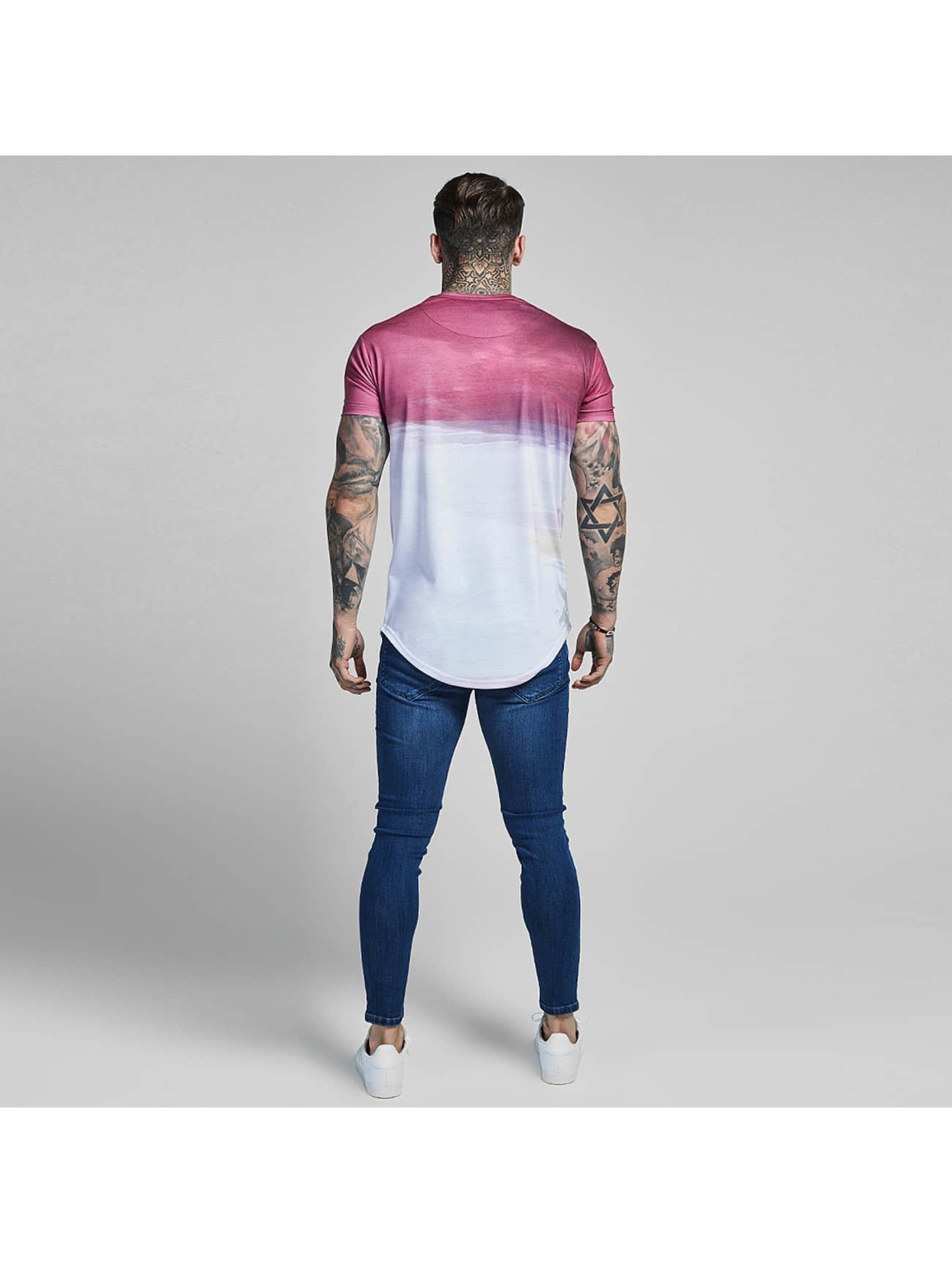 Sik Silk T-shirts Curved Hem Wash Out rosa