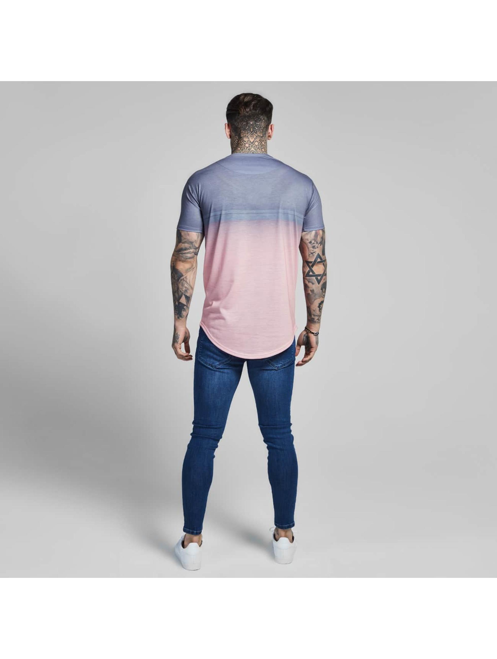 Sik Silk T-shirts Curved Hem Fade rosa