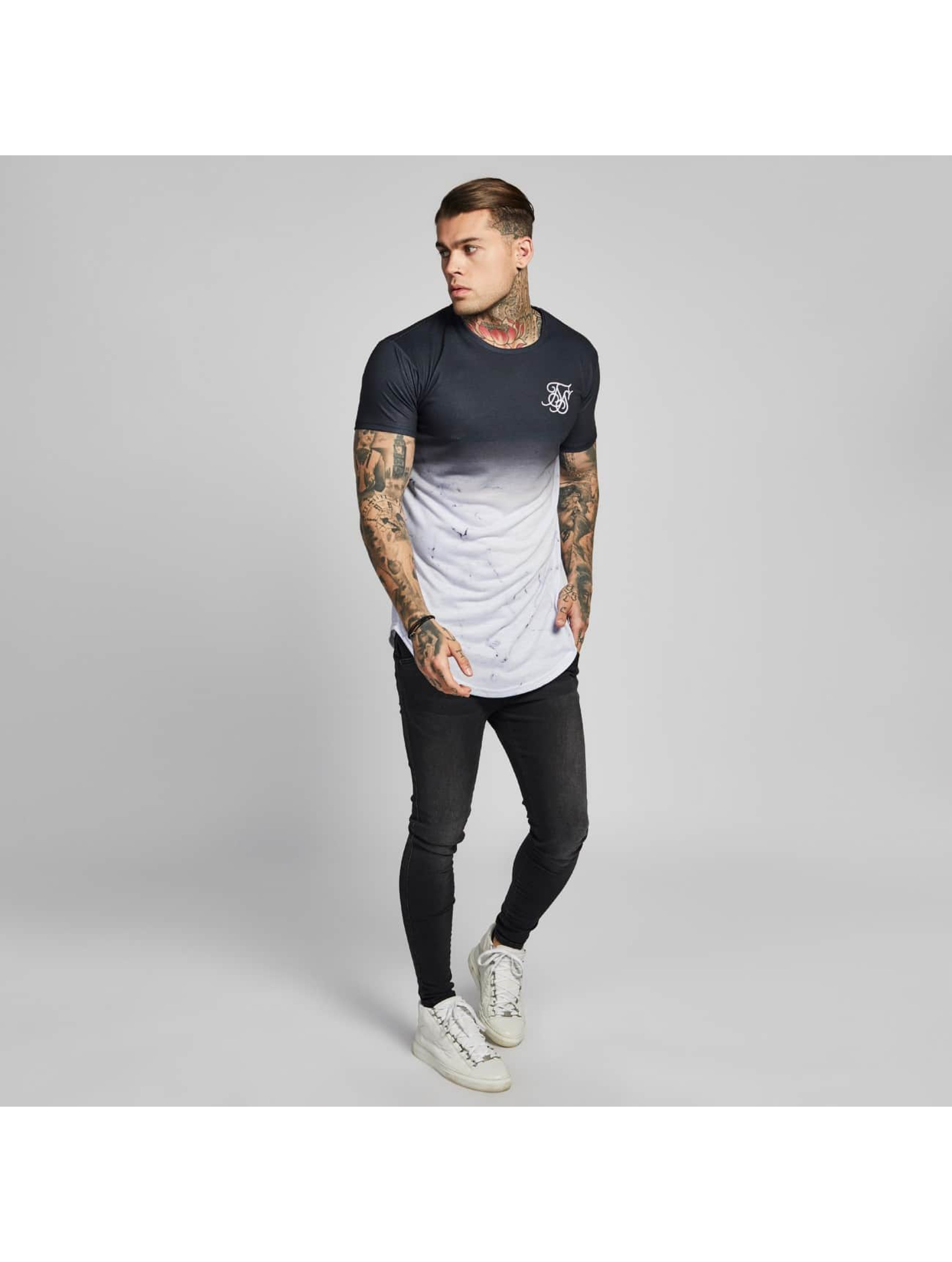 Sik Silk T-shirts Marble Fade Curved Hem sort