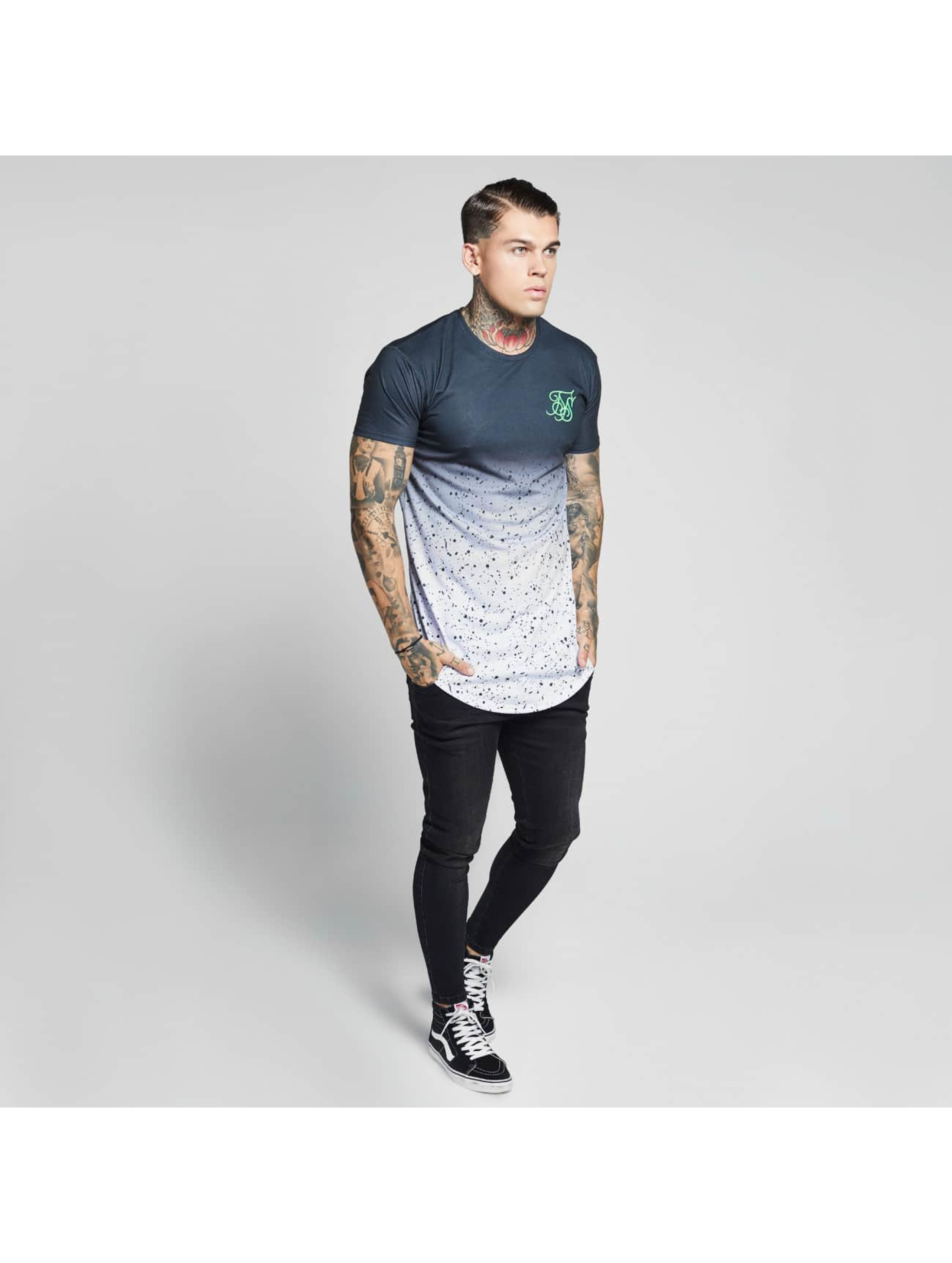 Sik Silk T-shirts Curved Hem Fade sort