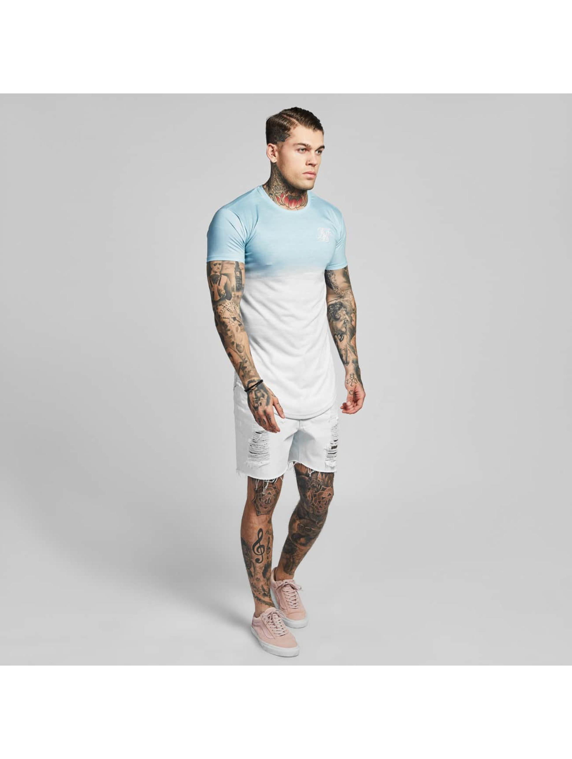 Sik Silk T-shirts Curved Hem Wash Out turkis