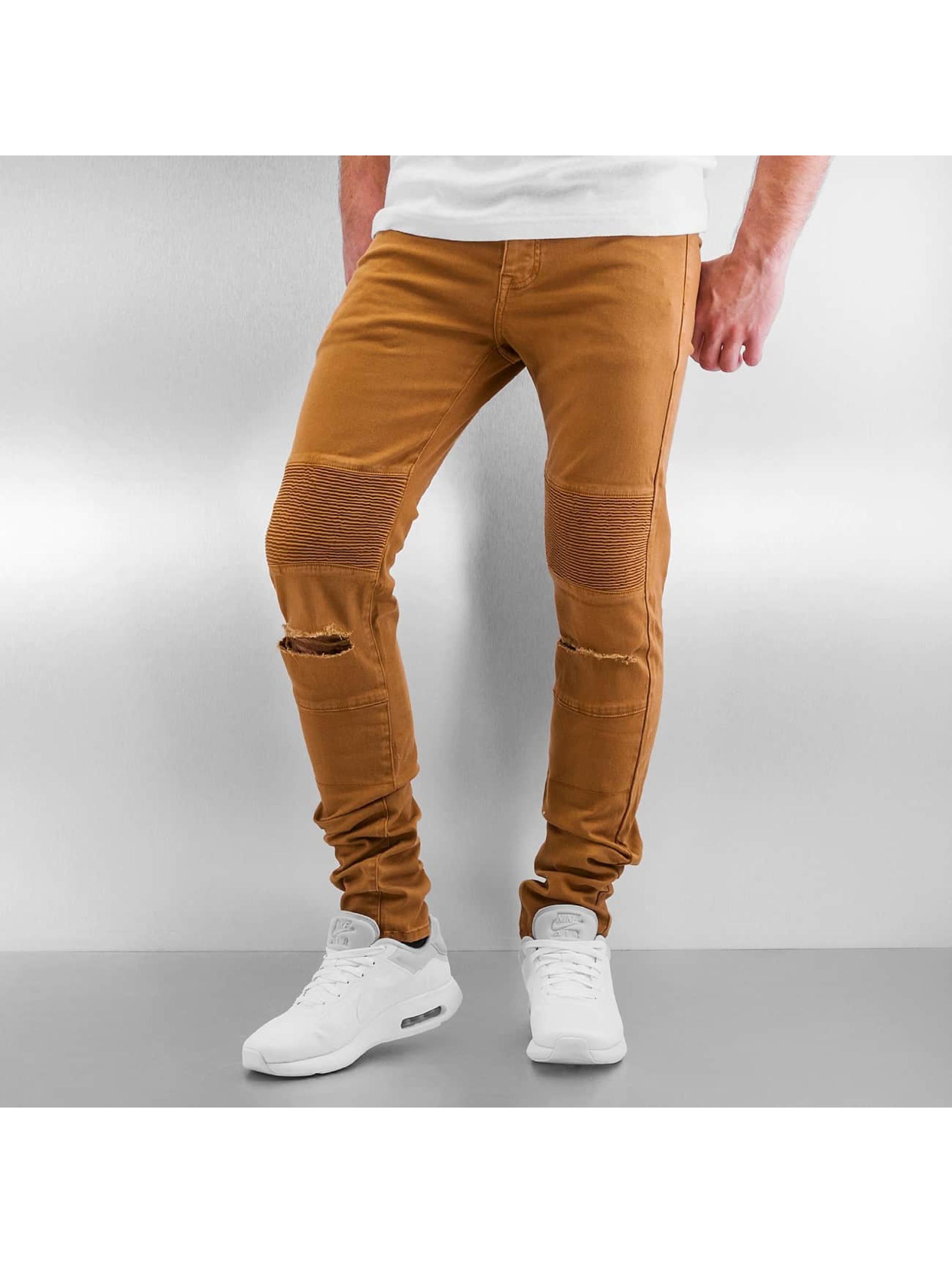 Sixth June Облегающие джинсы Radge Biker коричневый