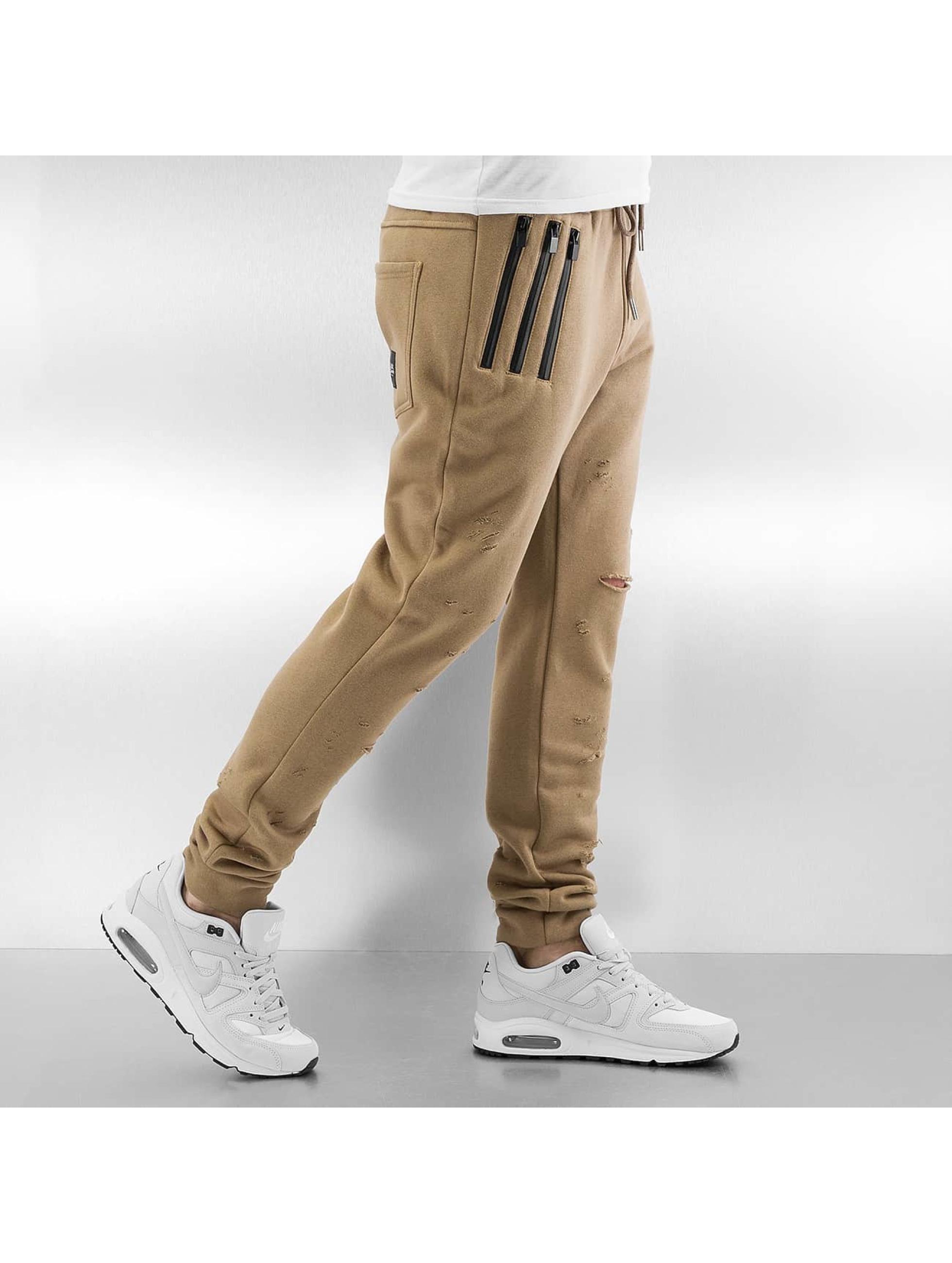 Sixth June Спортивные брюки Destroyed Slim Fit бежевый