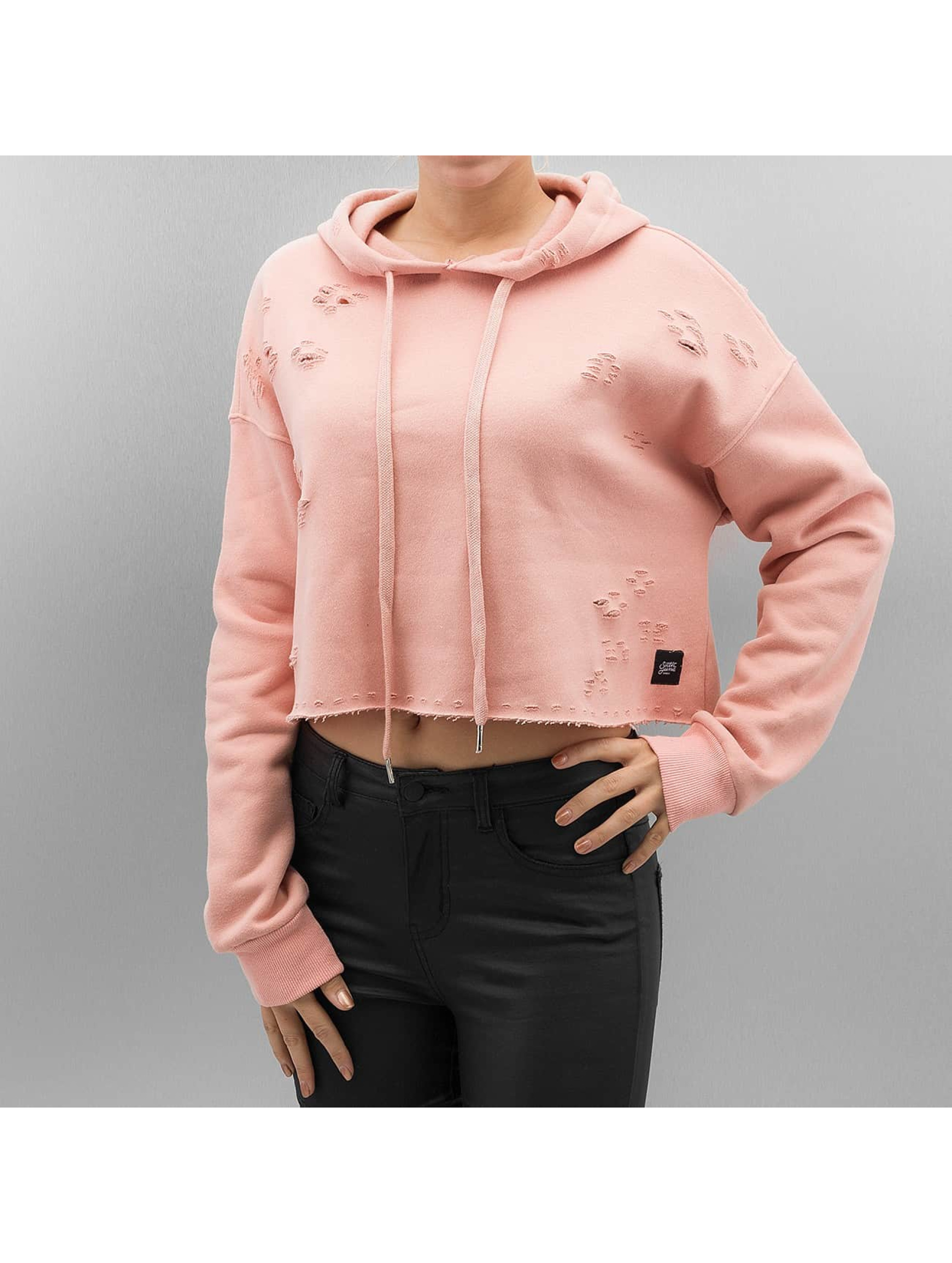 Hoody Destroyed in rosa