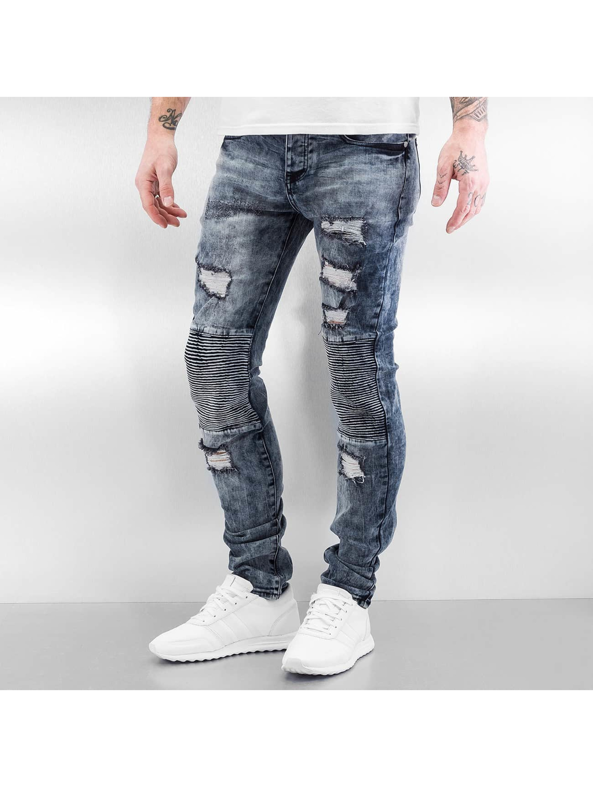 Sixth June Jean skinny Destroyed Biker bleu
