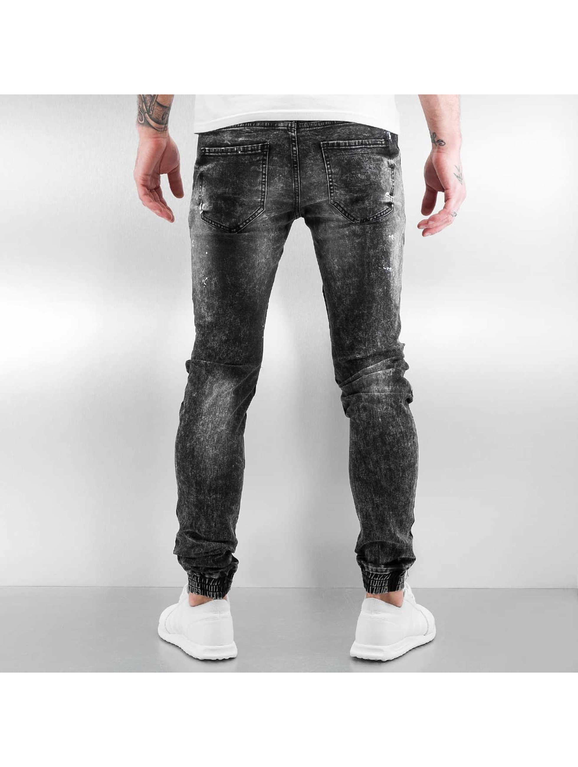 Sixth June Jean skinny Destroyed Biker Denim noir