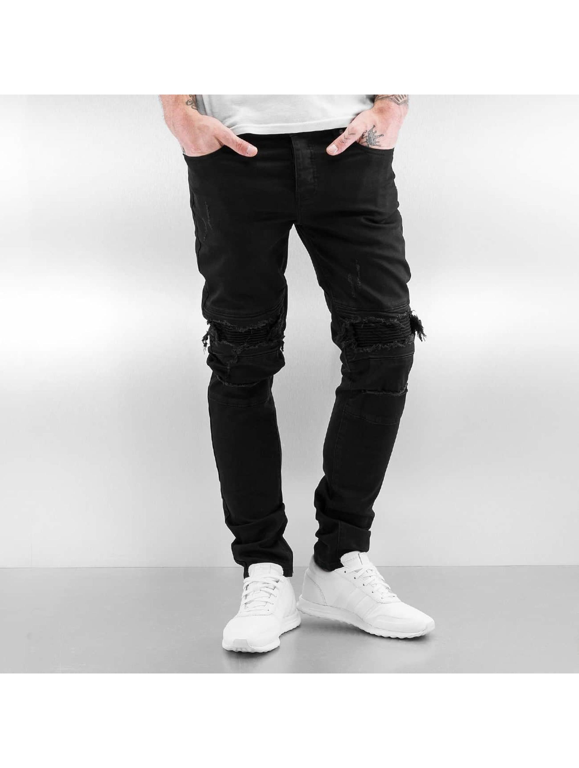 Sixth June Jeans slim fit Biker Knee Cut nero