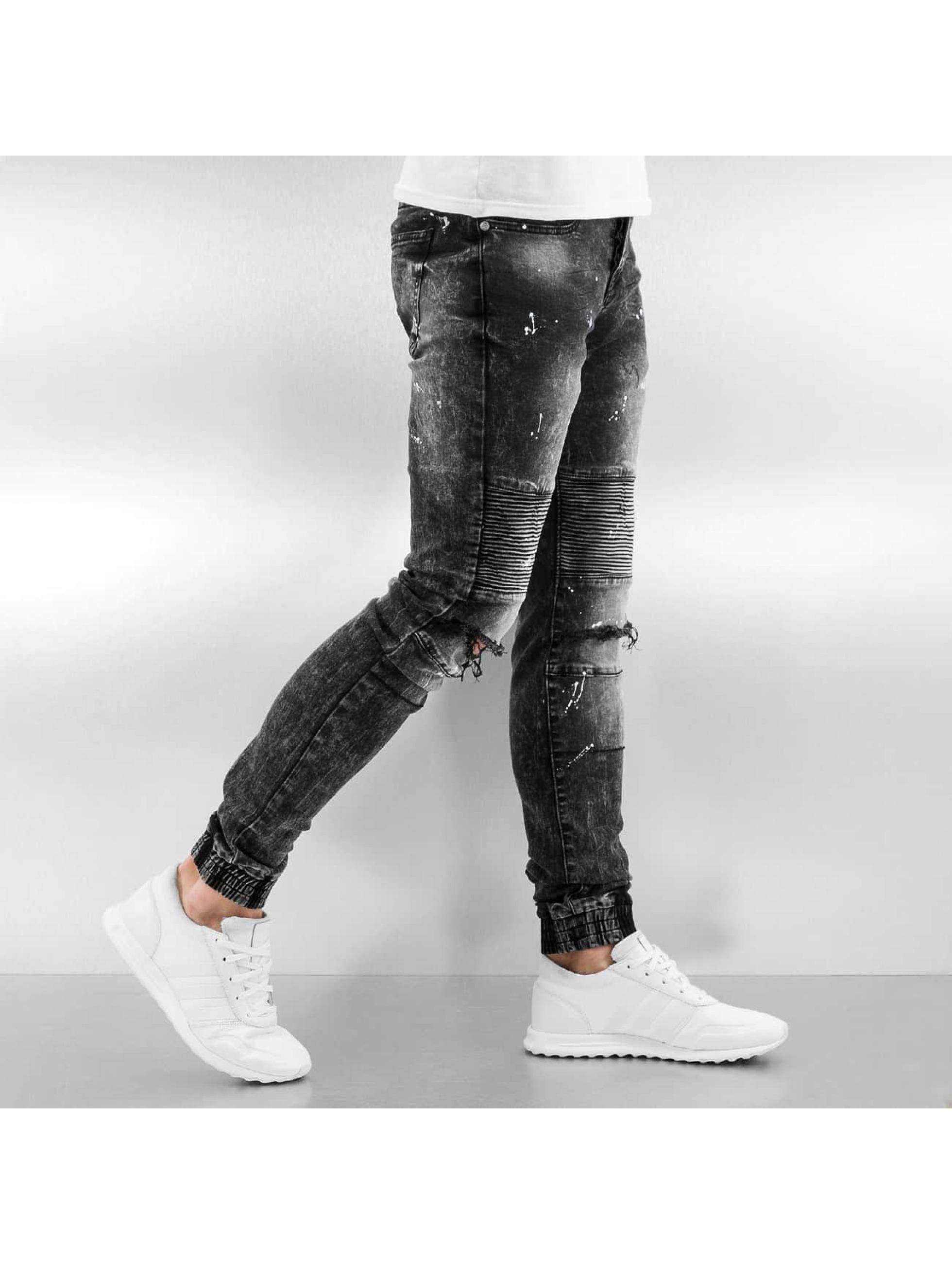 Sixth June Jeans slim fit Destroyed Biker Denim nero