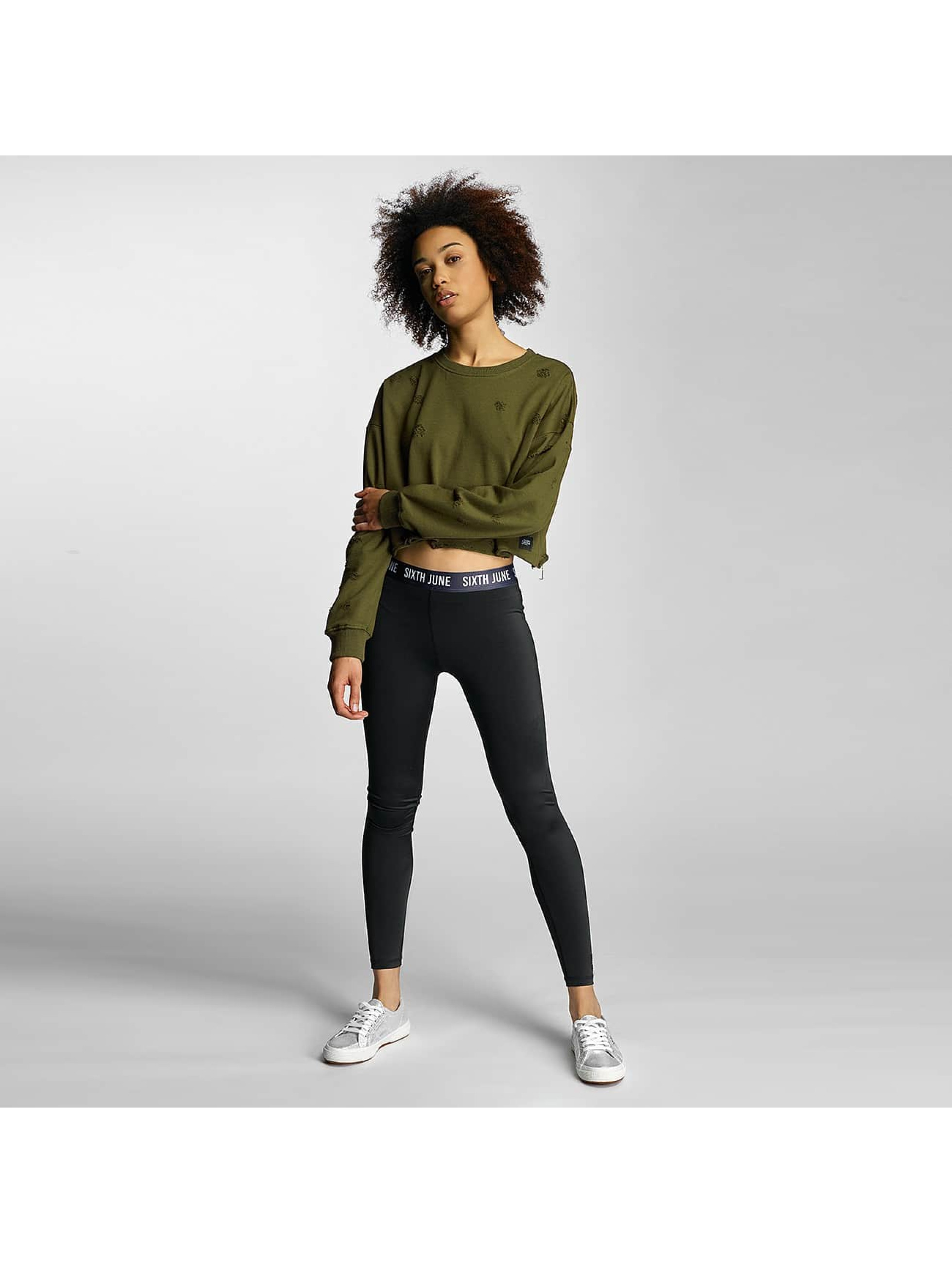 Sixth June Jumper Destroyed Cropped khaki