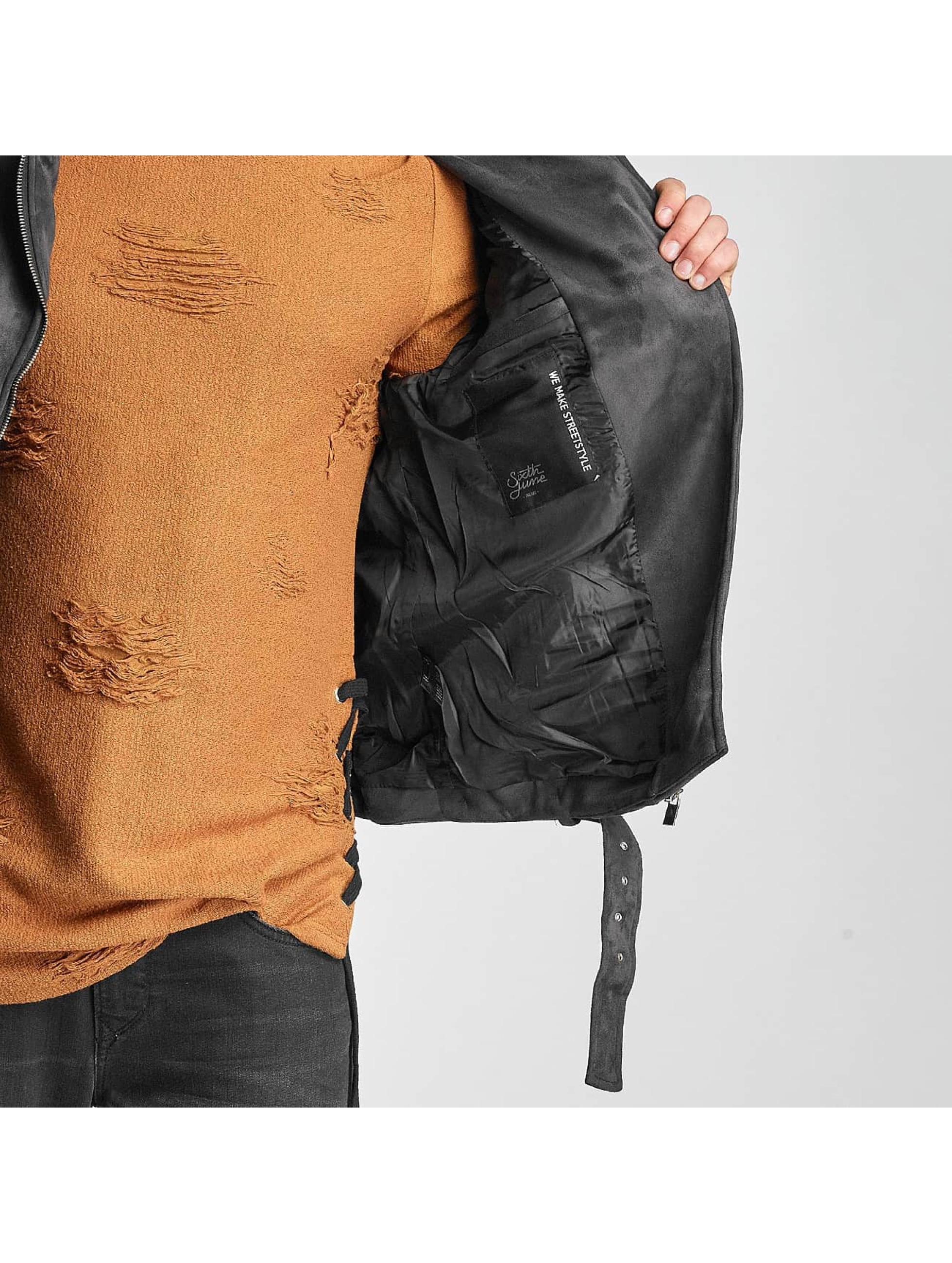 Sixth June Leather Jacket Perfecto grey