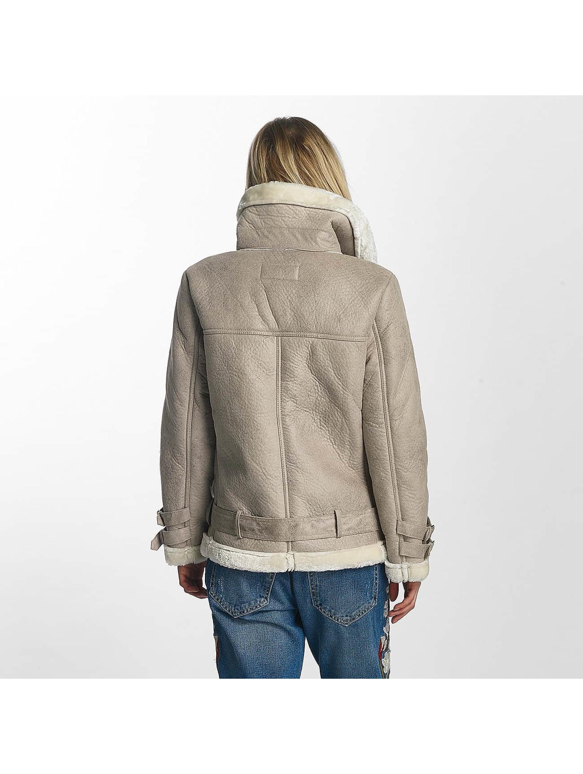 Sixth June leren jas Perfecto Fur beige