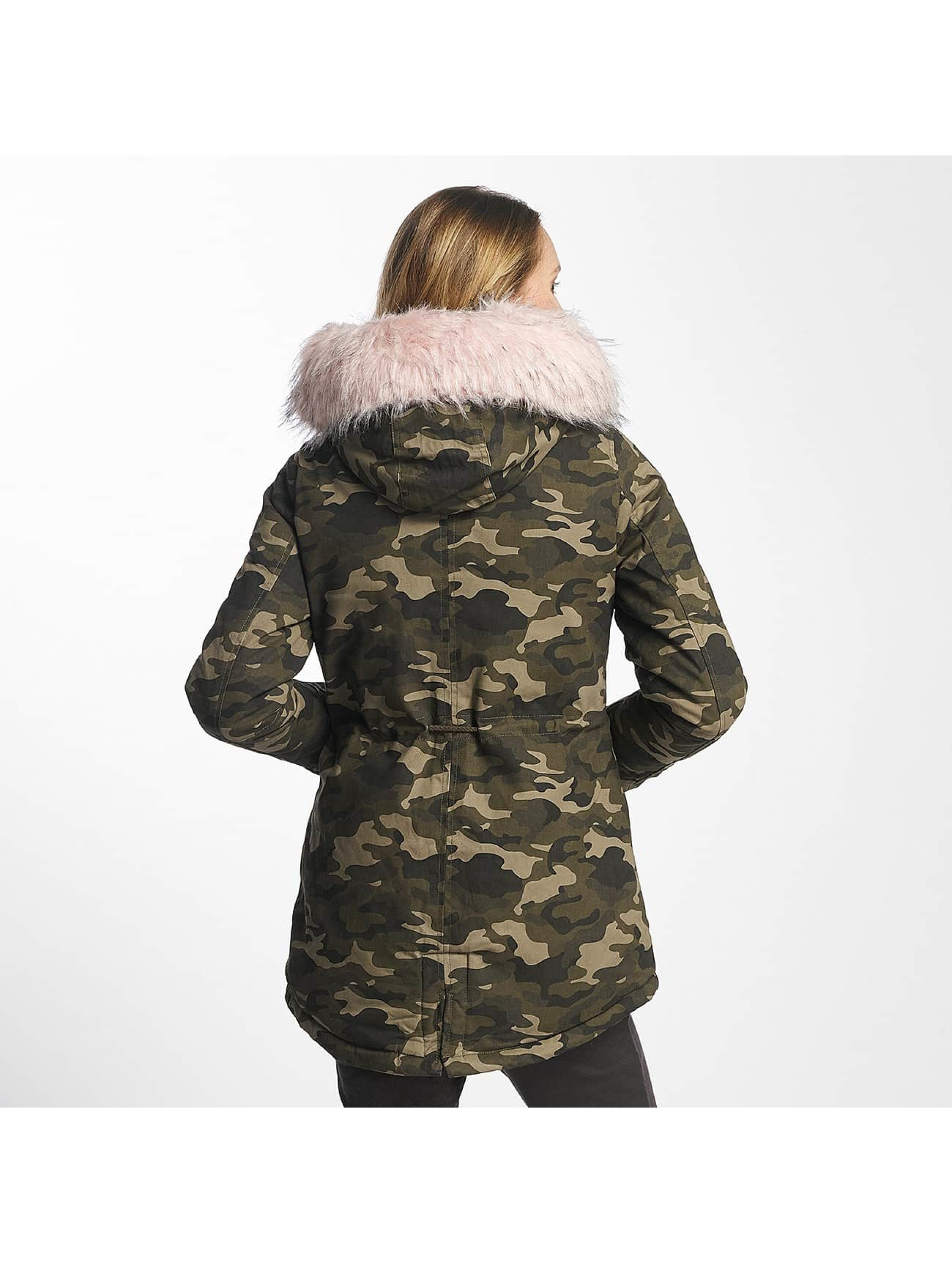 Sixth June Manteau hiver Oversize With Fake Fur Hood camouflage