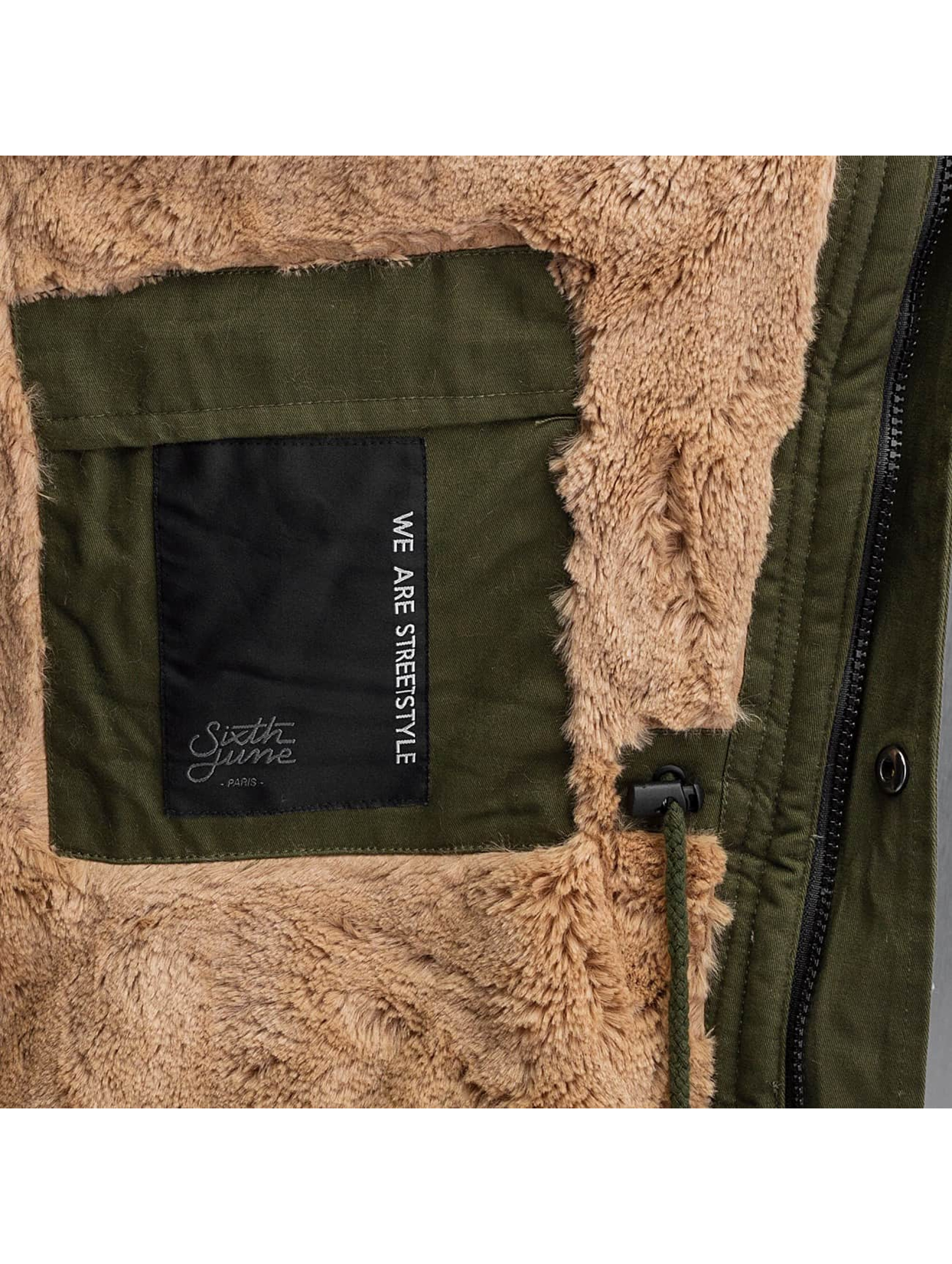 Sixth June Manteau hiver Fur kaki