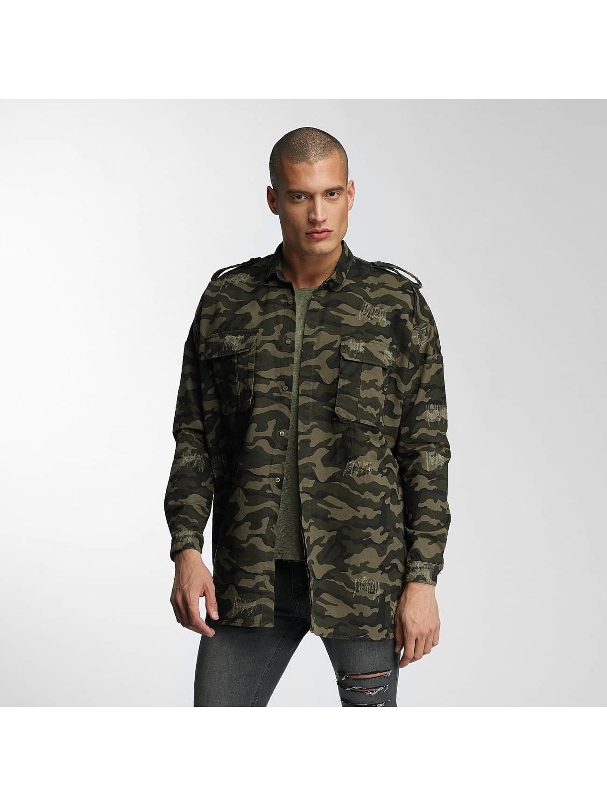 Delen Sixth June heren overhemd Oversized Destroyed - camouflage