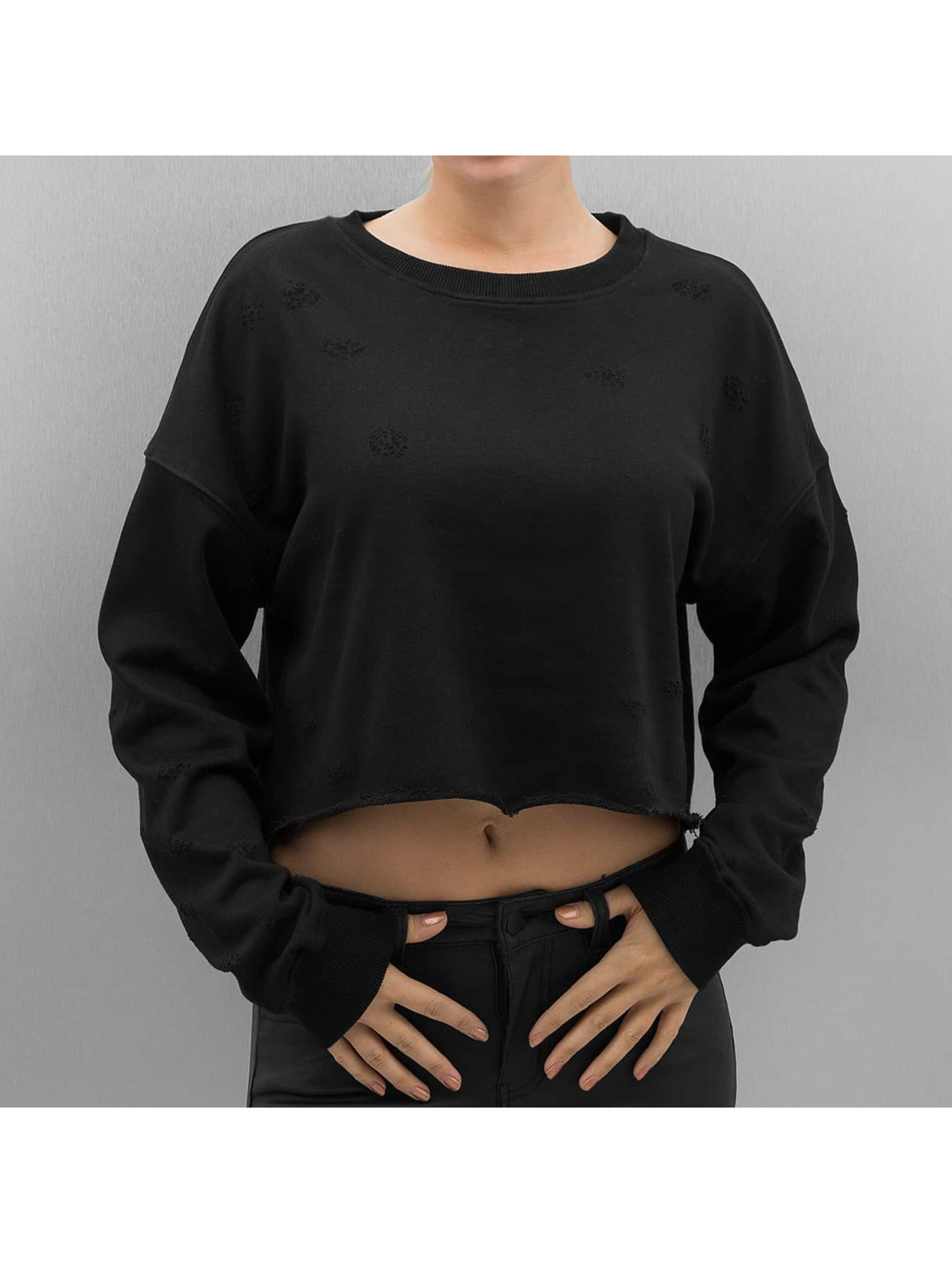 Sixth June Pullover Destroyed Cropped black
