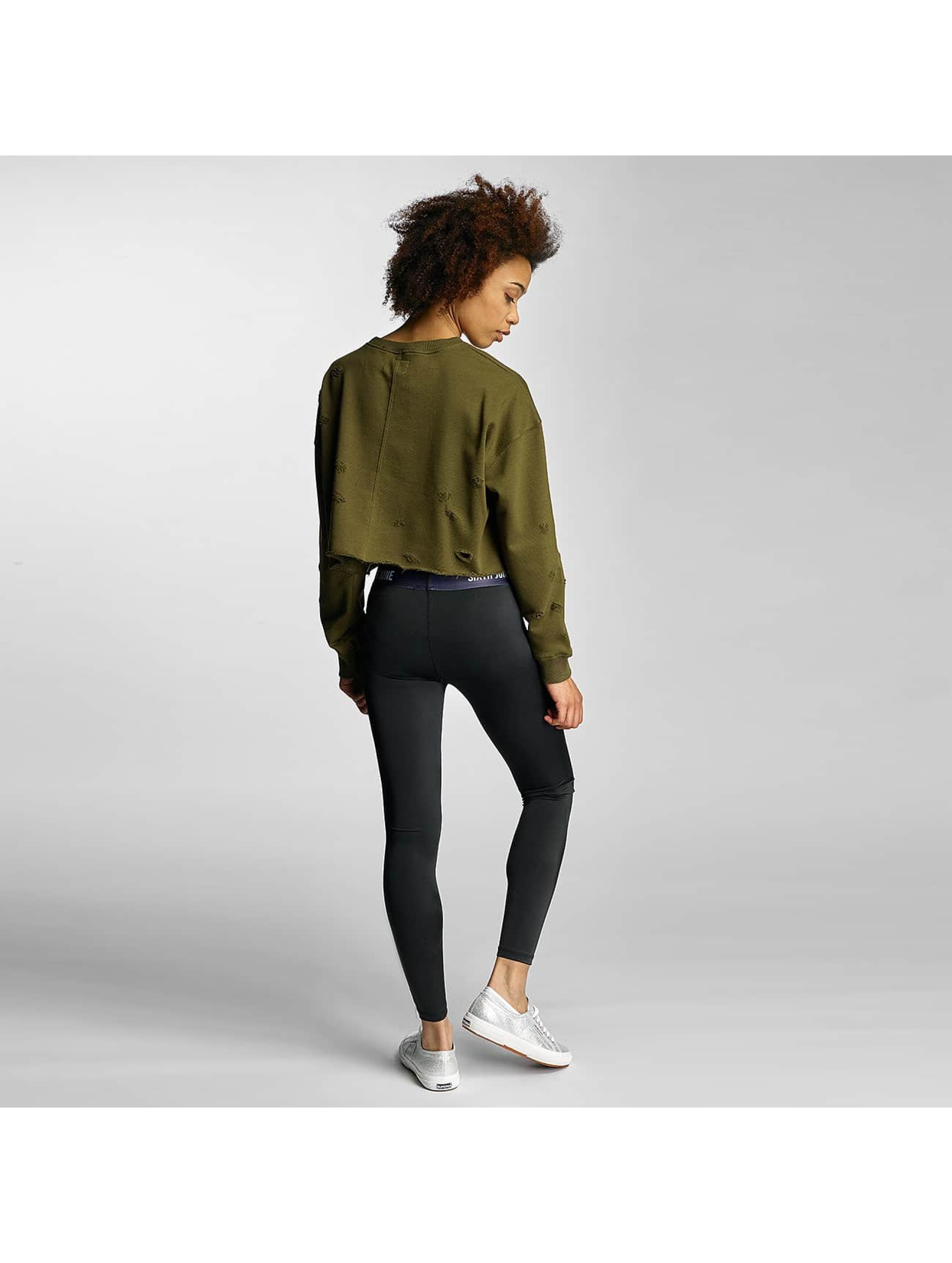 Sixth June Pullover Destroyed Cropped khaki