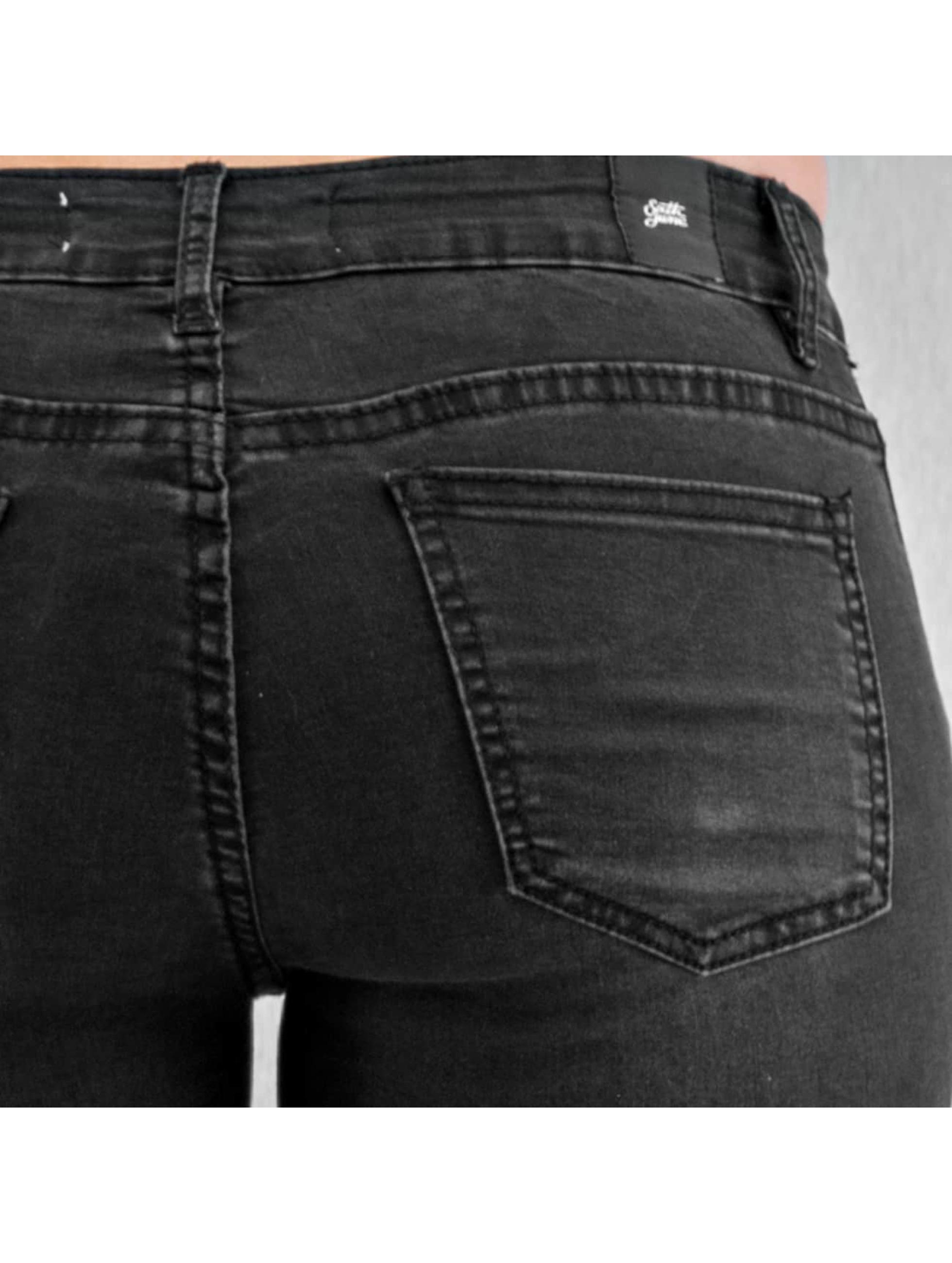 Sixth June Skinny Jeans Biker czarny