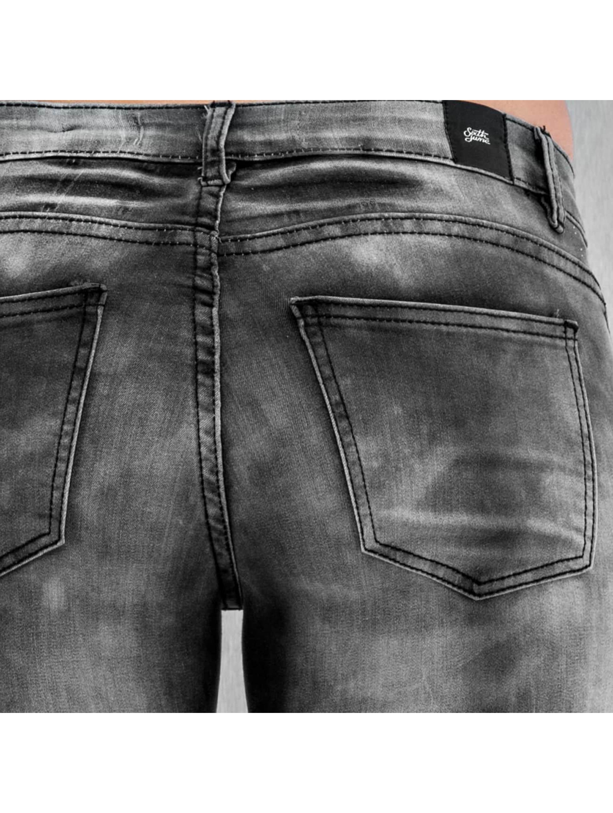 Sixth June Skinny Jeans Washed Tie and Dye Bike grau