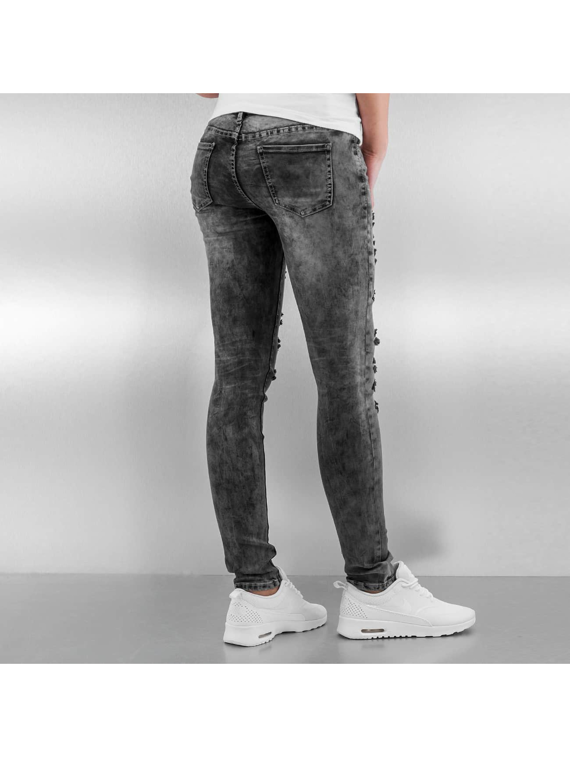 Sixth June Skinny jeans Destroyed grijs