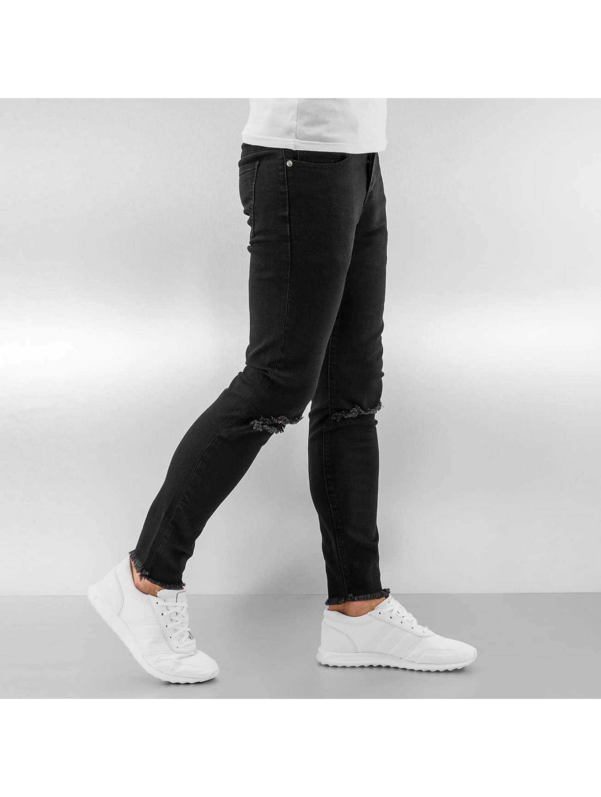 Sixth June Skinny Jeans Knee Cut schwarz