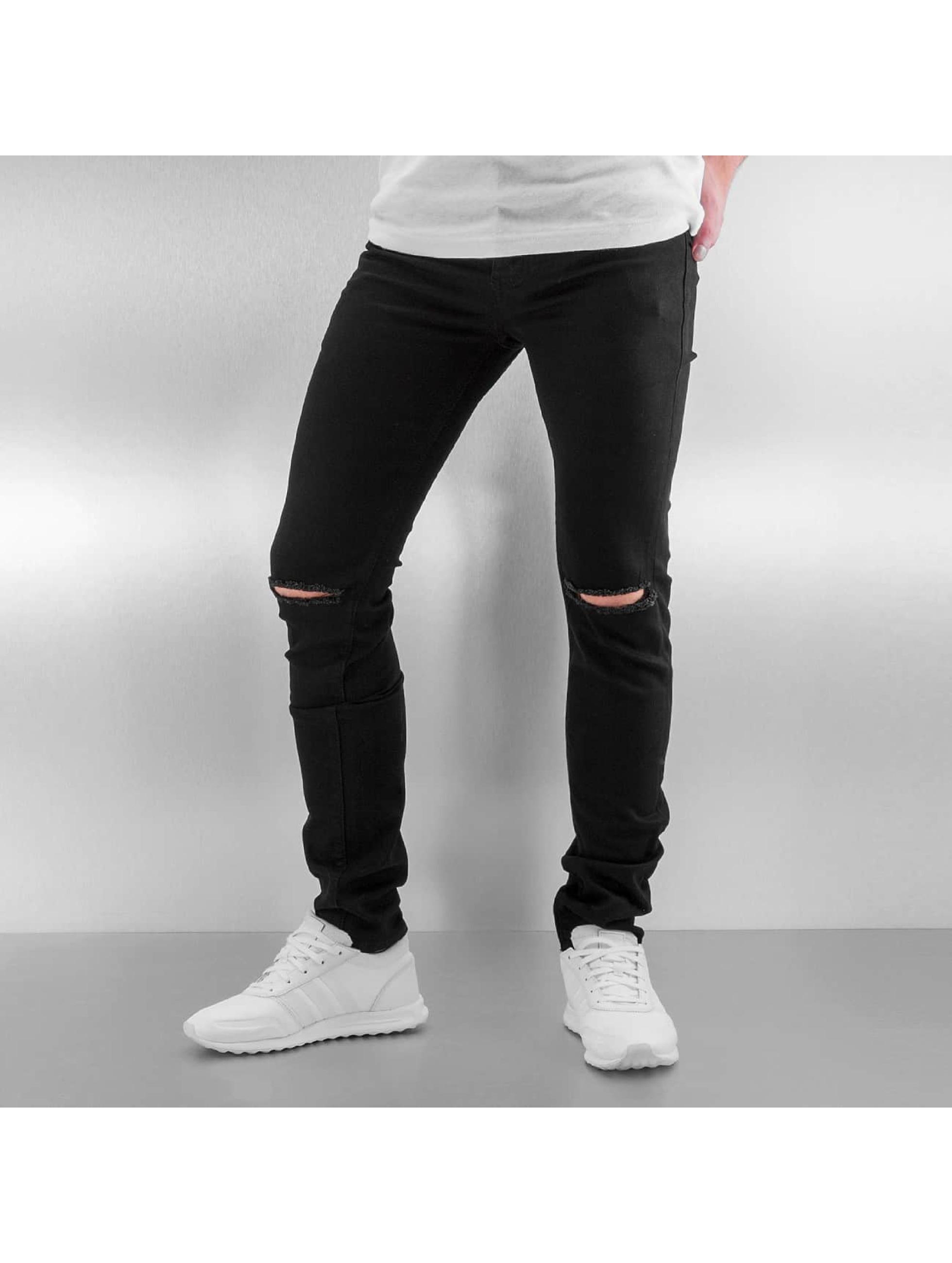 Skinny Jeans Opened On Knee in schwarz