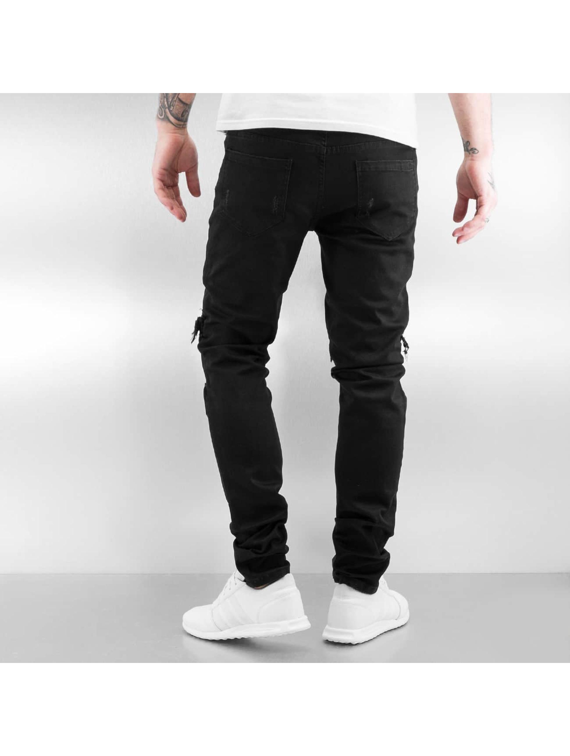 Sixth June Skinny Jeans Biker Knee Cut schwarz