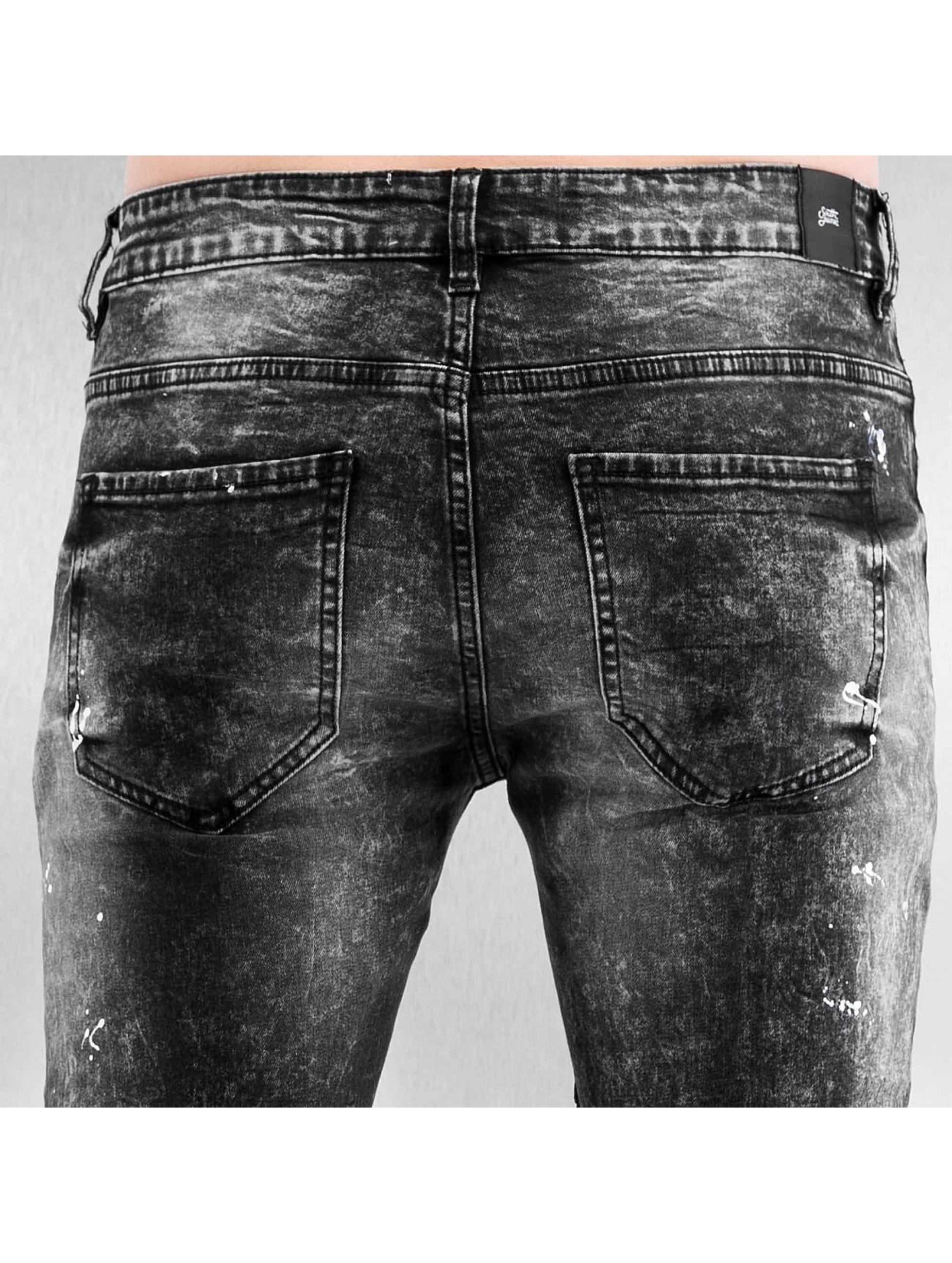 Sixth June Skinny Jeans Destroyed Biker Denim schwarz