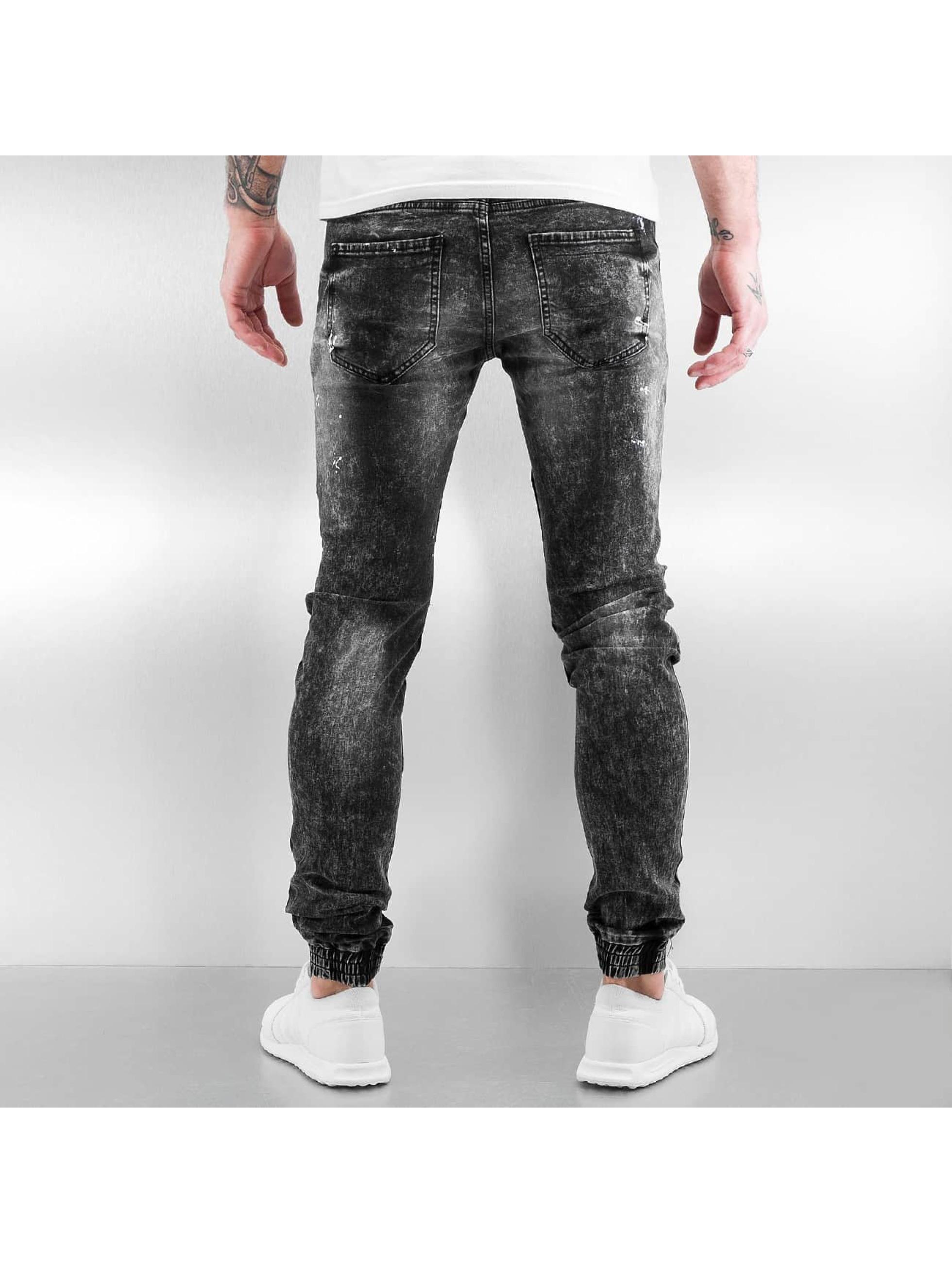 Sixth June Skinny jeans Destroyed Biker Denim zwart