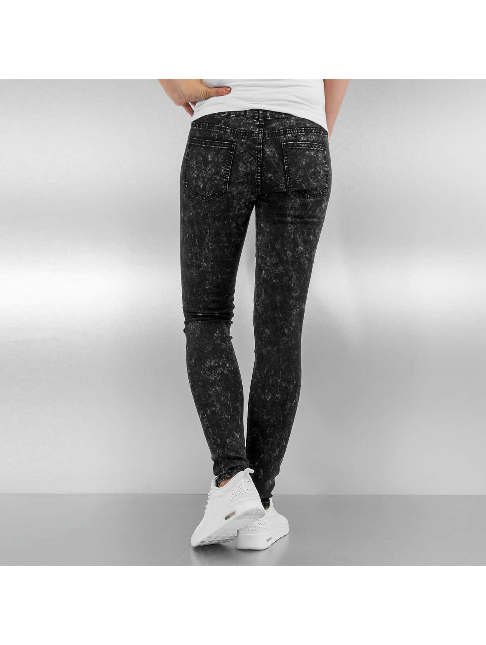 Sixth June Skinny jeans Destroyed zwart