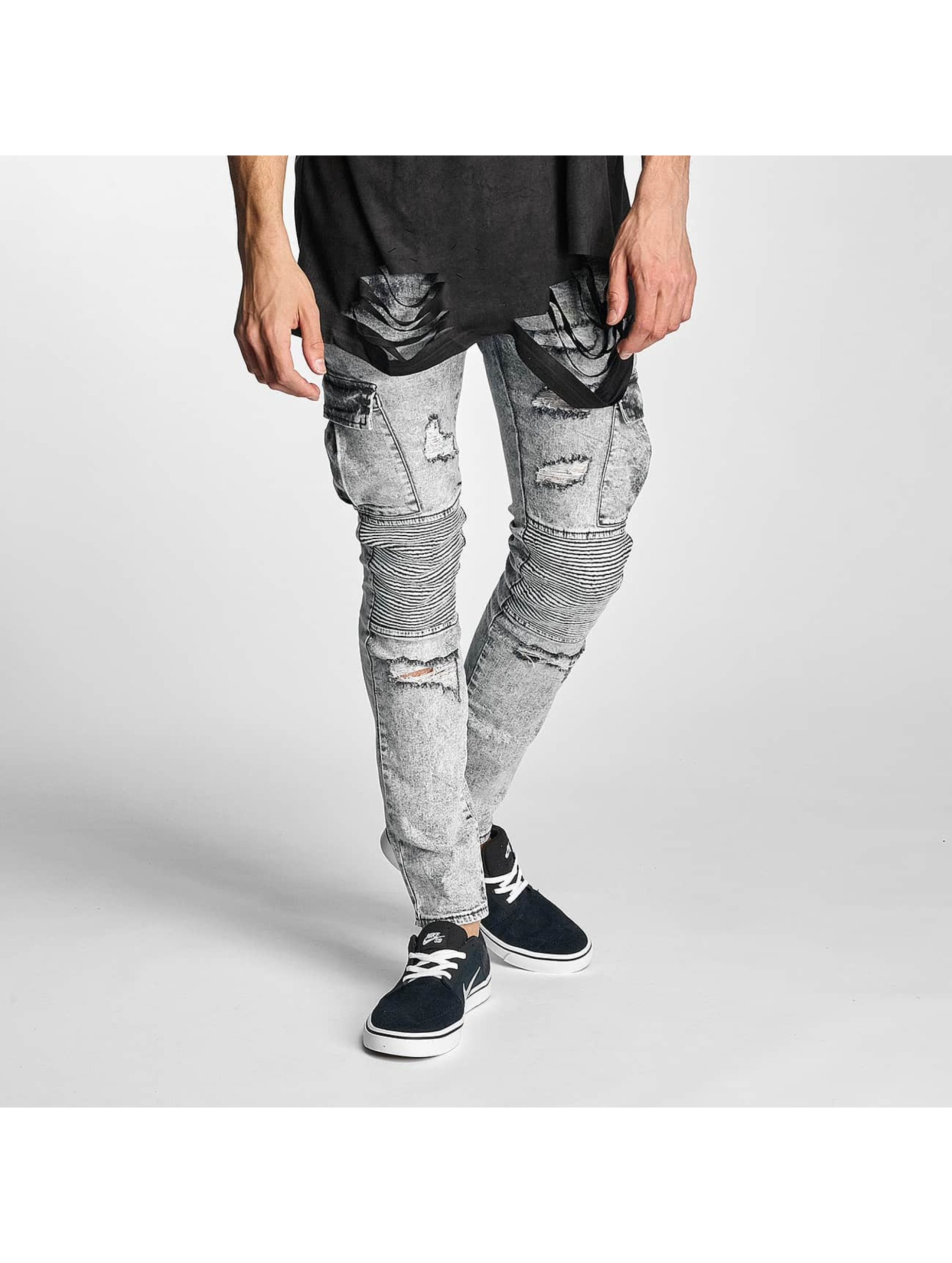 Sixth June Slim Fit Jeans Biker Cargo šedá