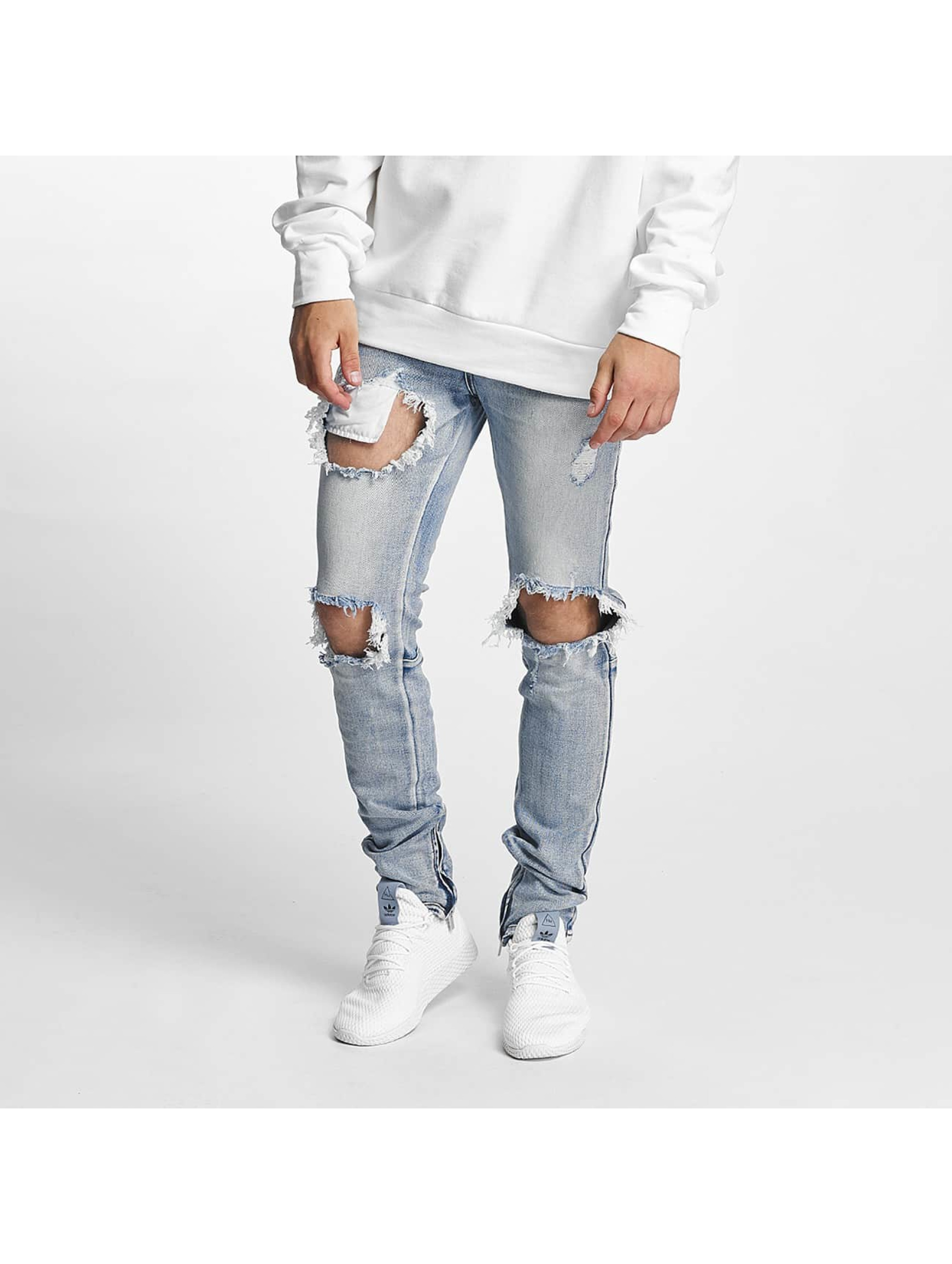 Sixth June heren slim fit jeans Destroyed Washed - blauw