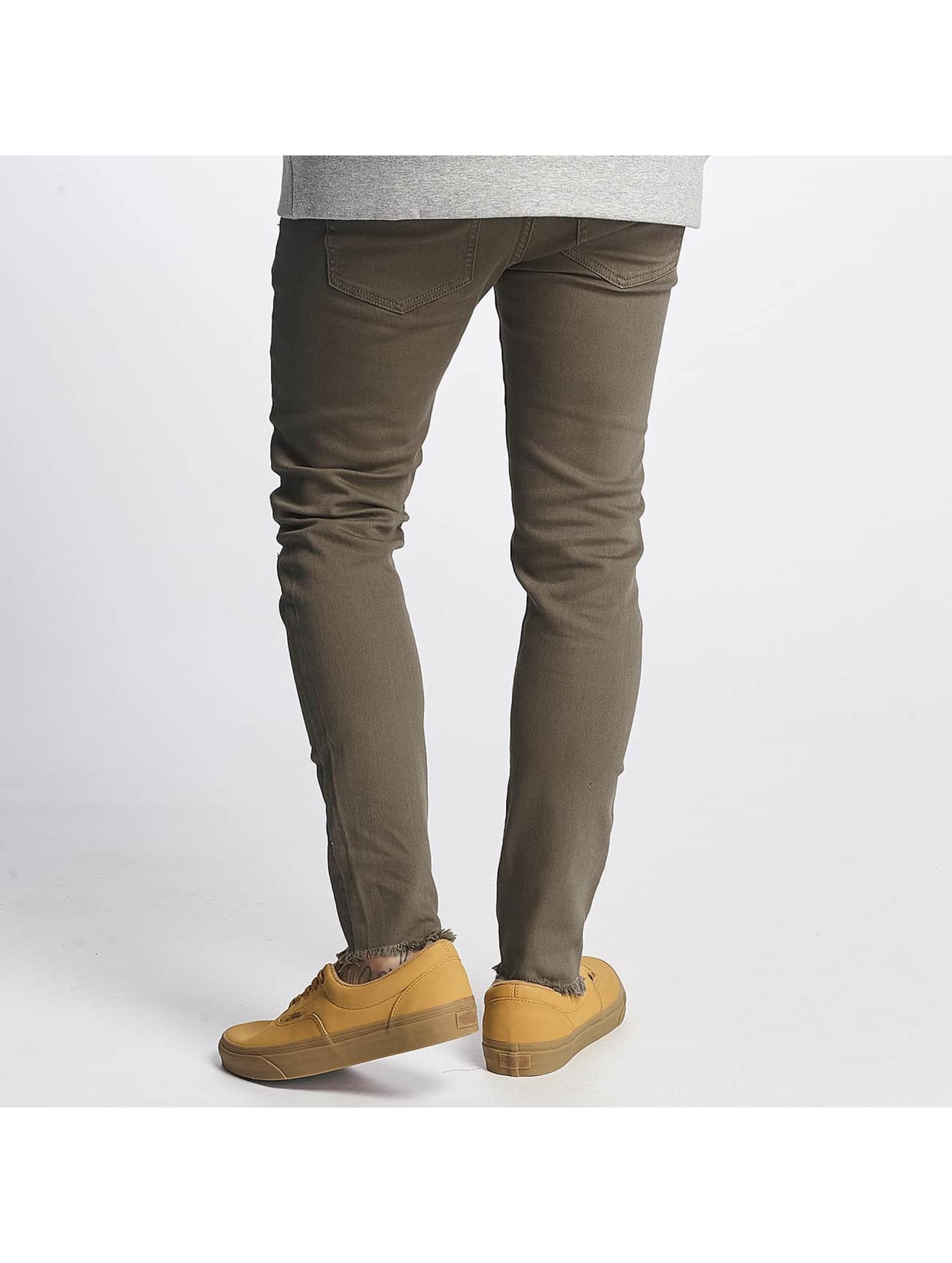 Sixth June Slim Fit Jeans Destroyed Knee oliv