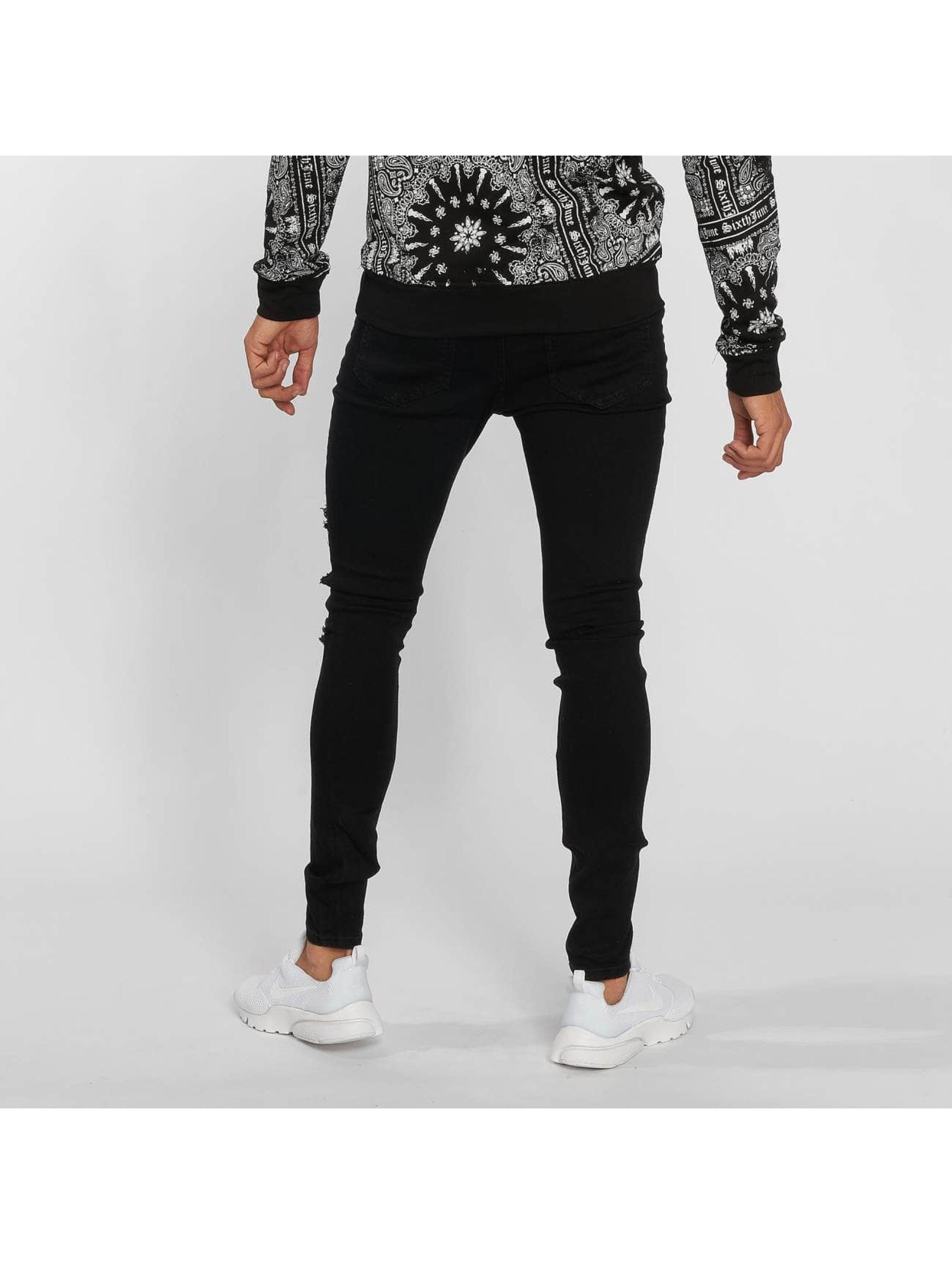 Sixth June Slim Fit Jeans Hudson svart