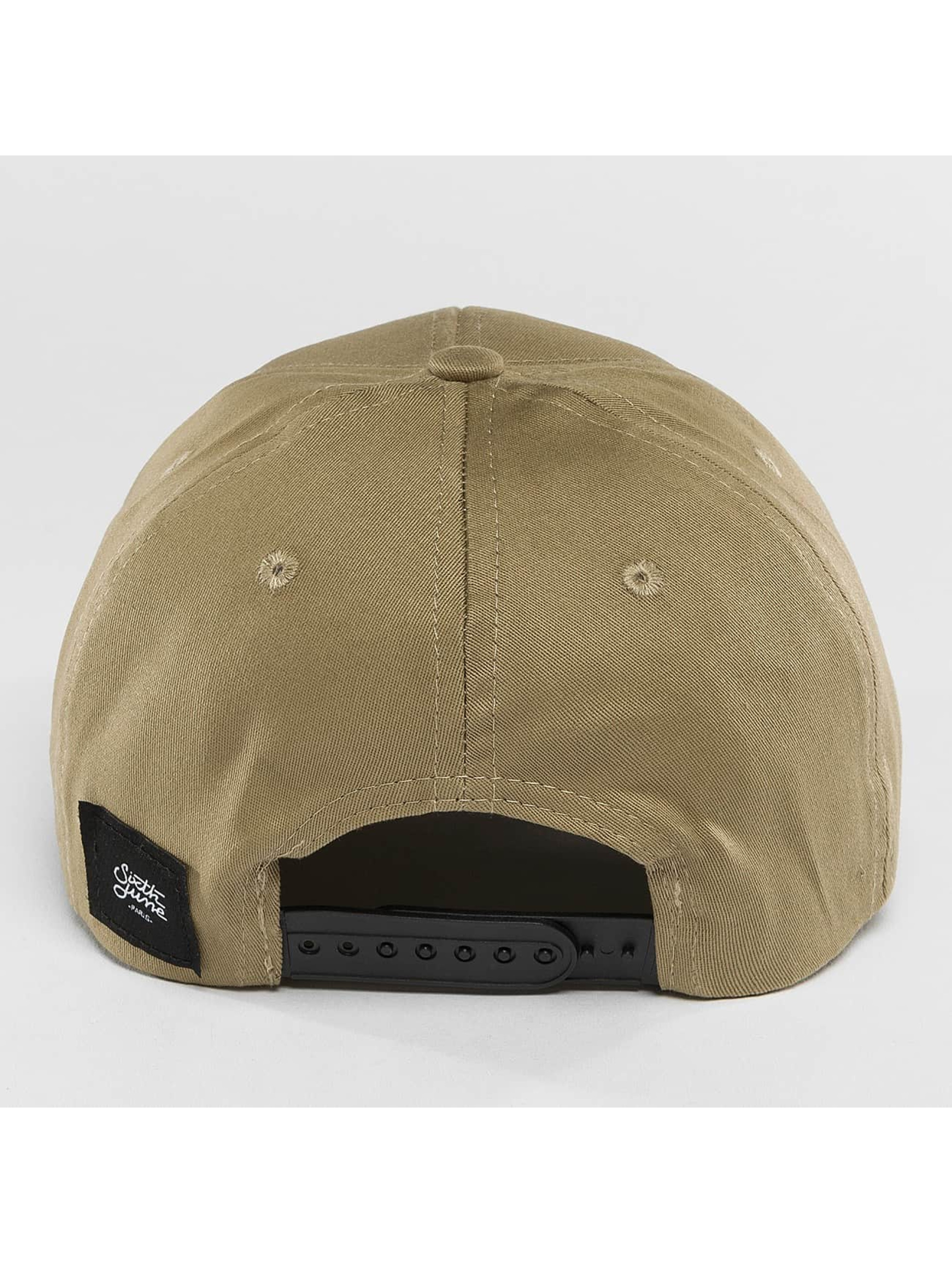 Sixth June Snapback Caps Curved Logo beige