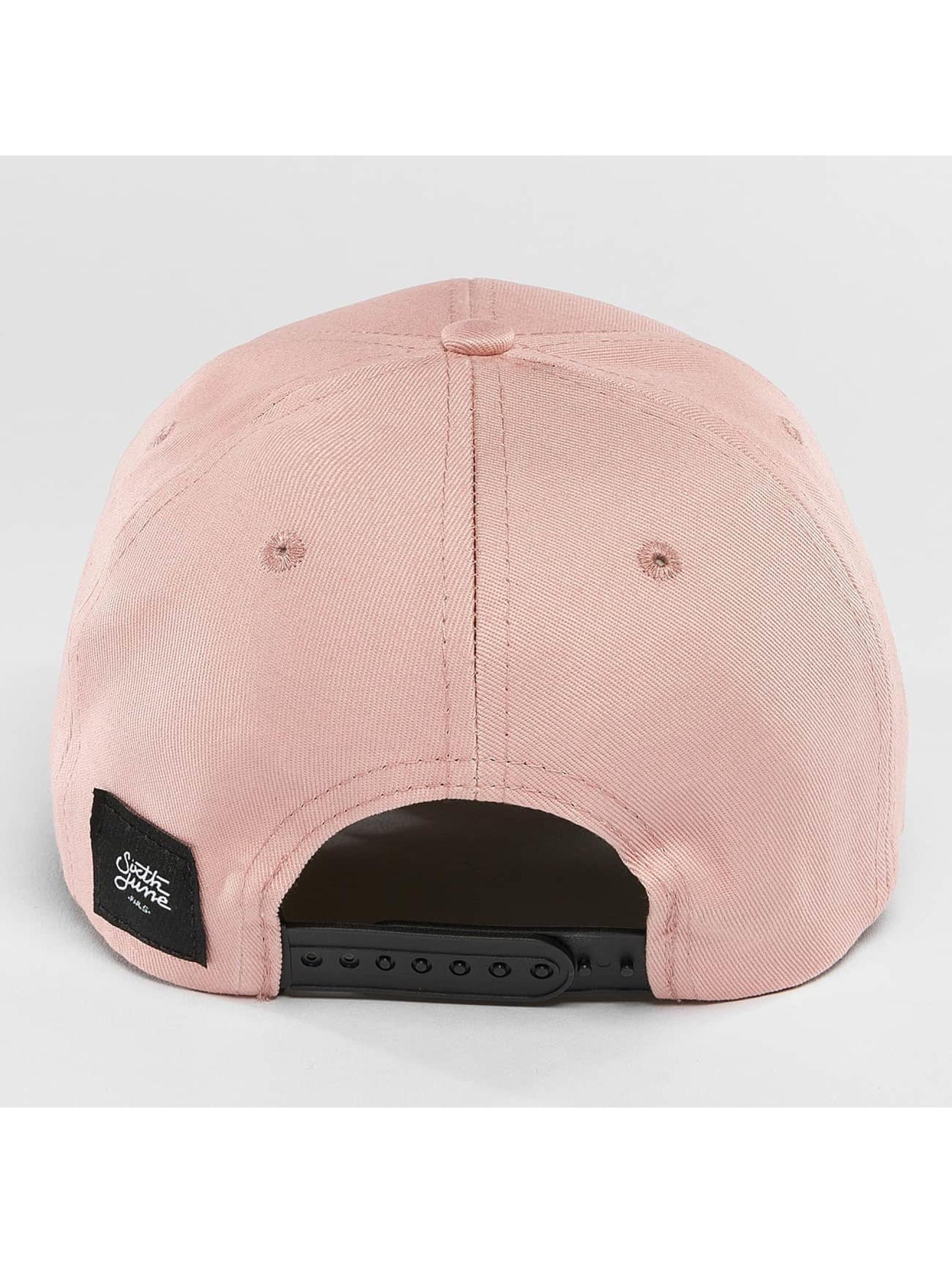 Sixth June Snapback Caps Curved Logo rosa