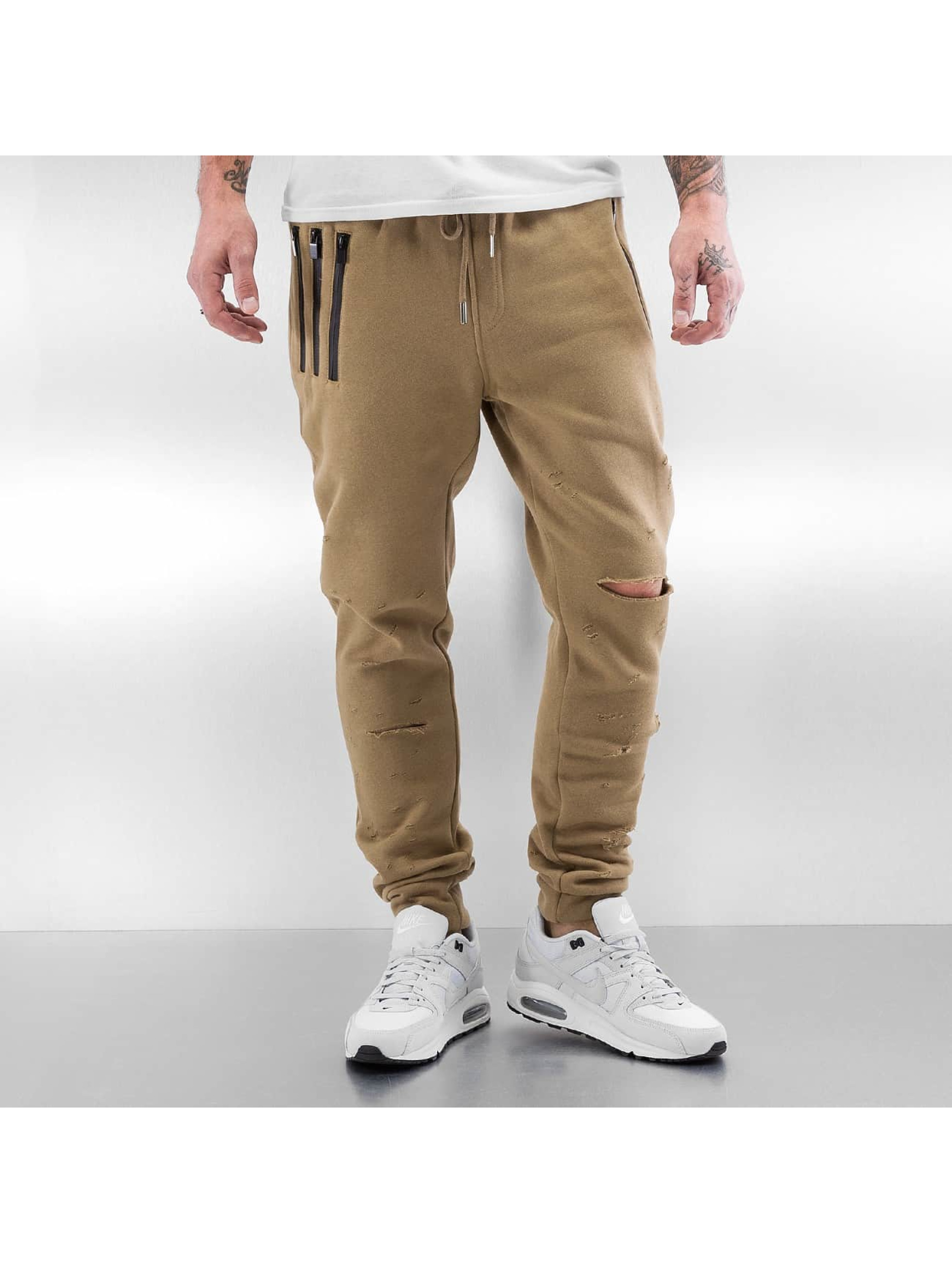 Sixth June Spodnie do joggingu Destroyed Slim Fit bezowy