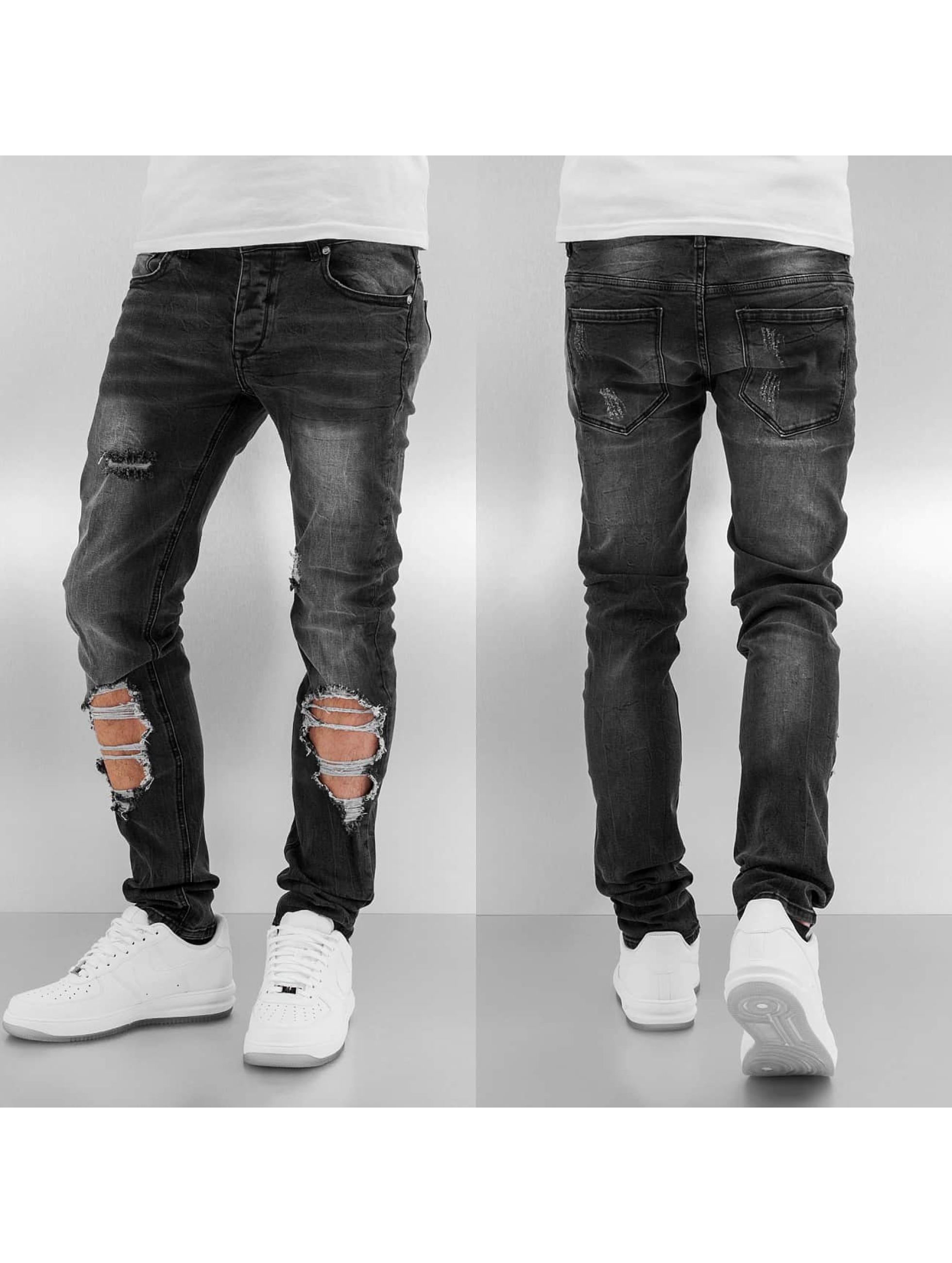 Straight Fit Jeans Destroyed in schwarz