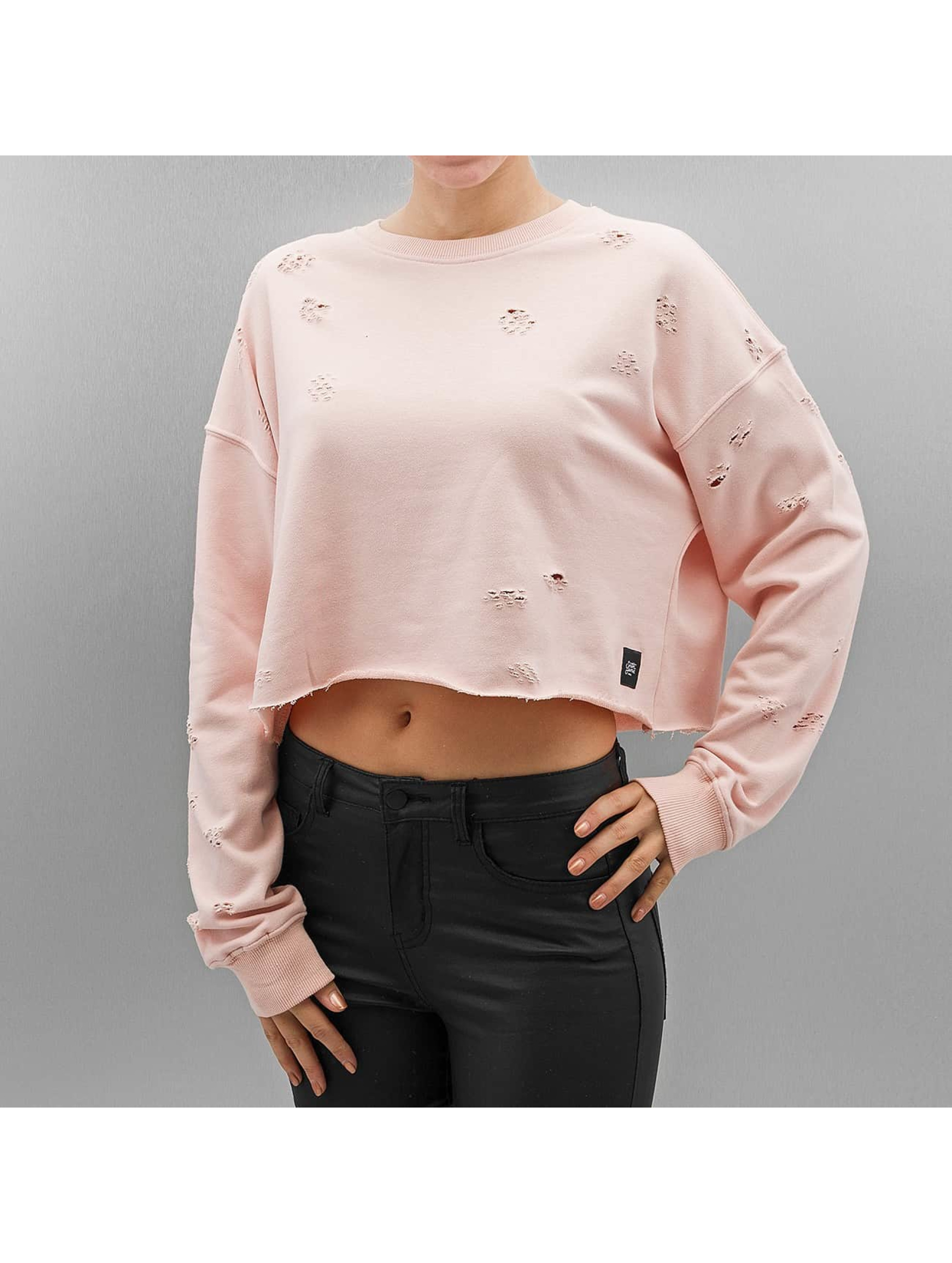 Sixth June Sweat & Pull Destroyed Cropped rose