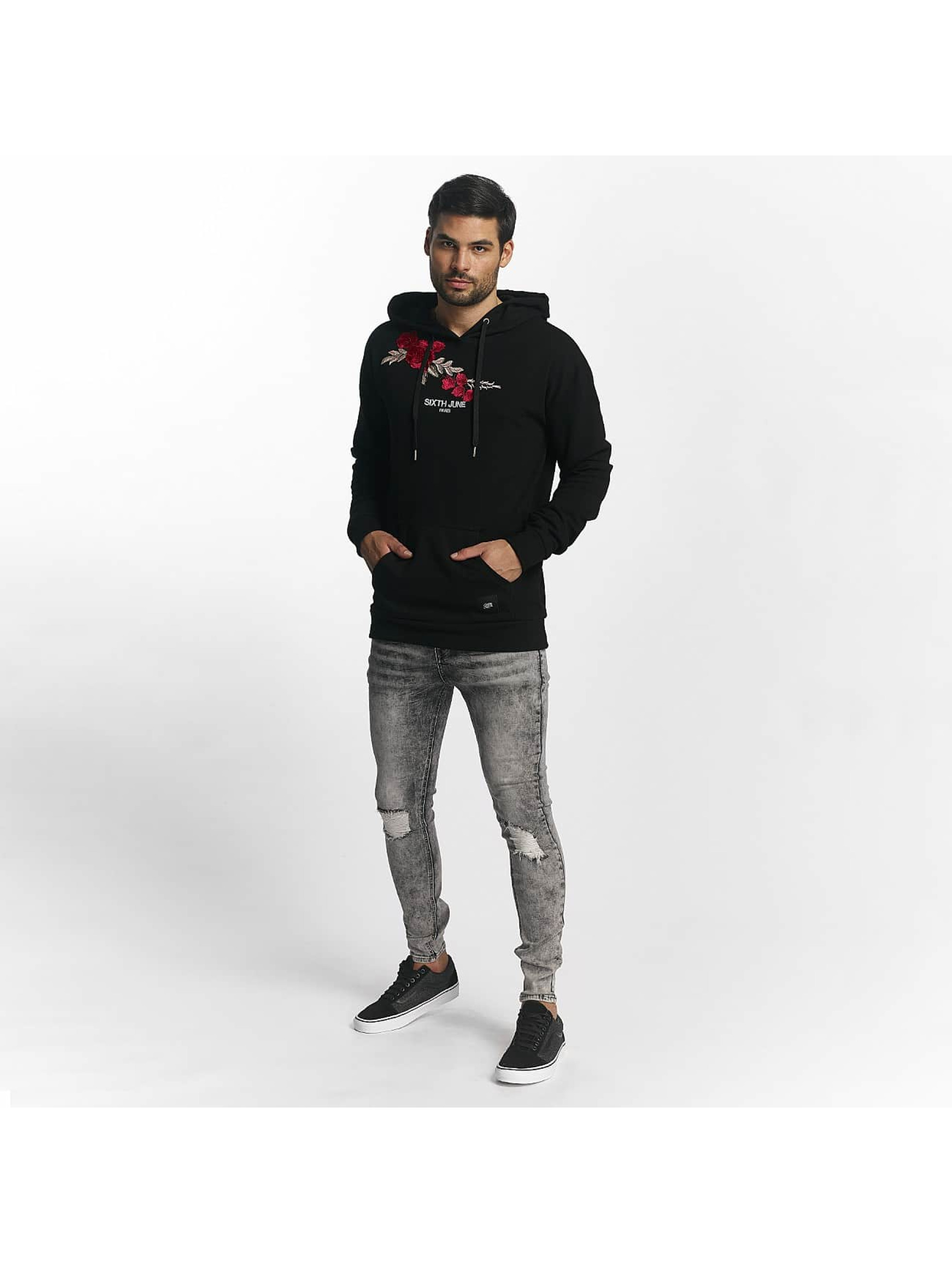 Sixth June Sweat capuche Regular Roses noir