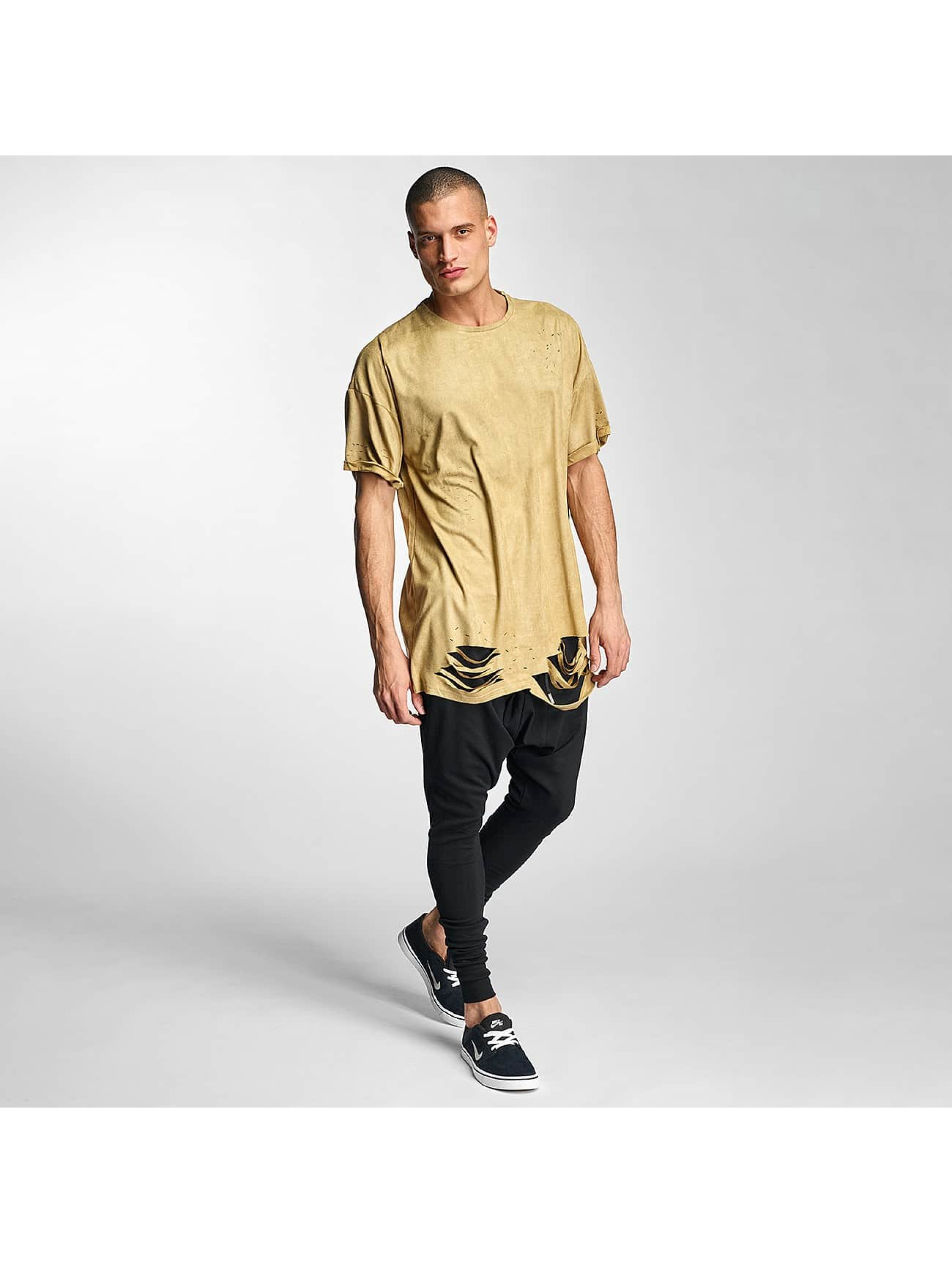 Sixth June T-Shirt Destroyed Overside Suede beige