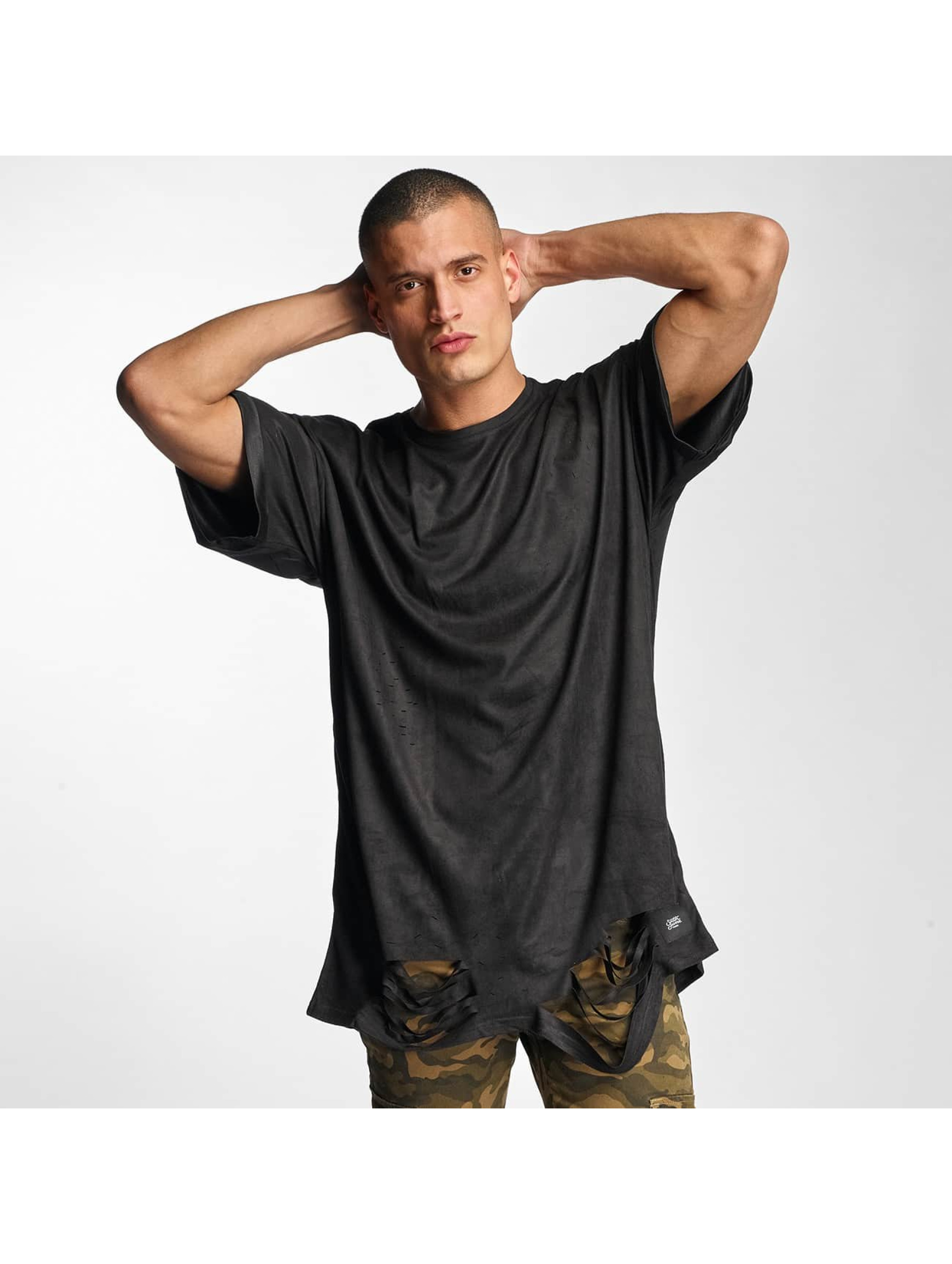Sixth June T-Shirt Destroyed Overside Suede black